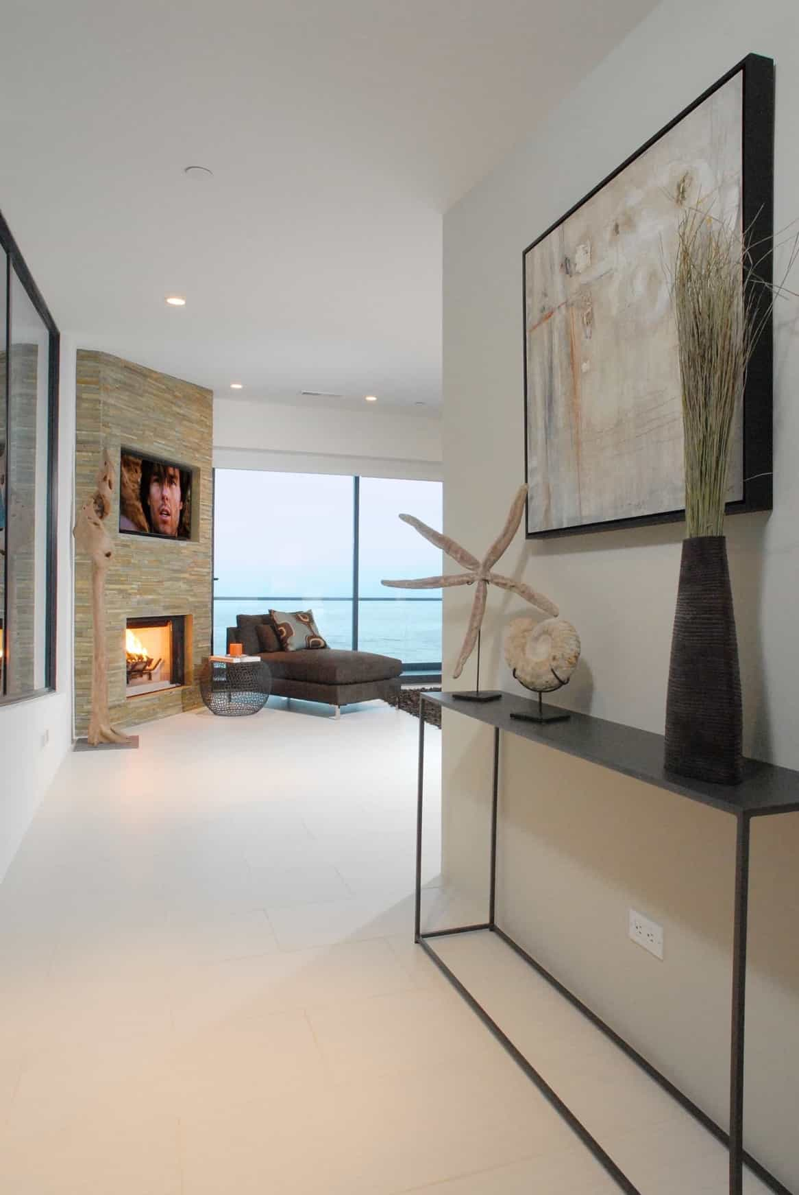 Featured Image of Contemporary Coastal Living Room With Stone Fireplace