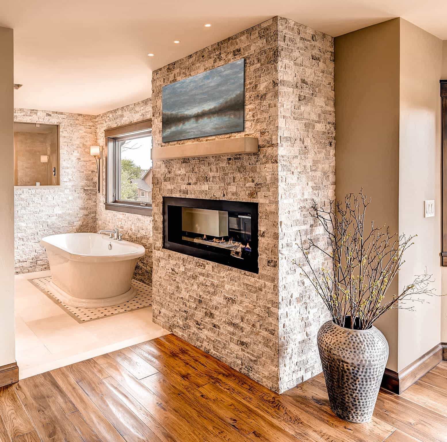 Contemporary Fireplace And Brick Wall In Rustic Bathroom (Image 5 of 30)