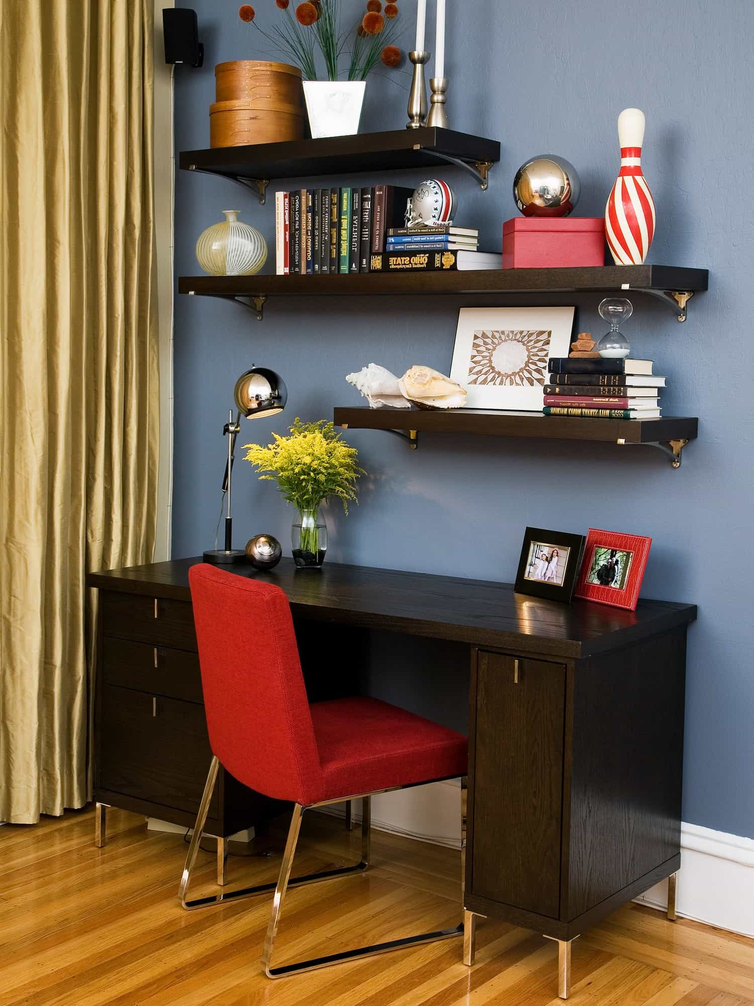 Contemporary Home Office With Floating Shelves And Red Parsons Chair (Image 5 of 16)