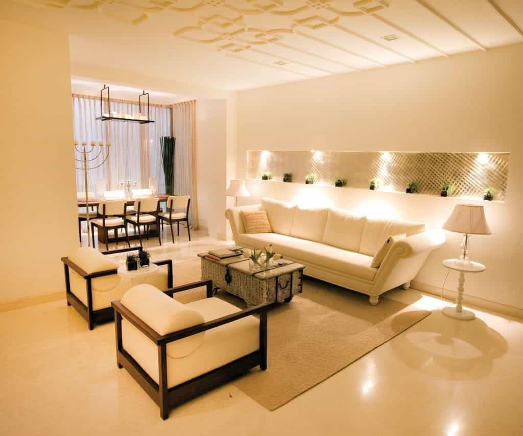 Modern Interior Decoration Living Rooms Ceiling Designs: Contemporary Indian Living Room Interior Elegant Ceiling