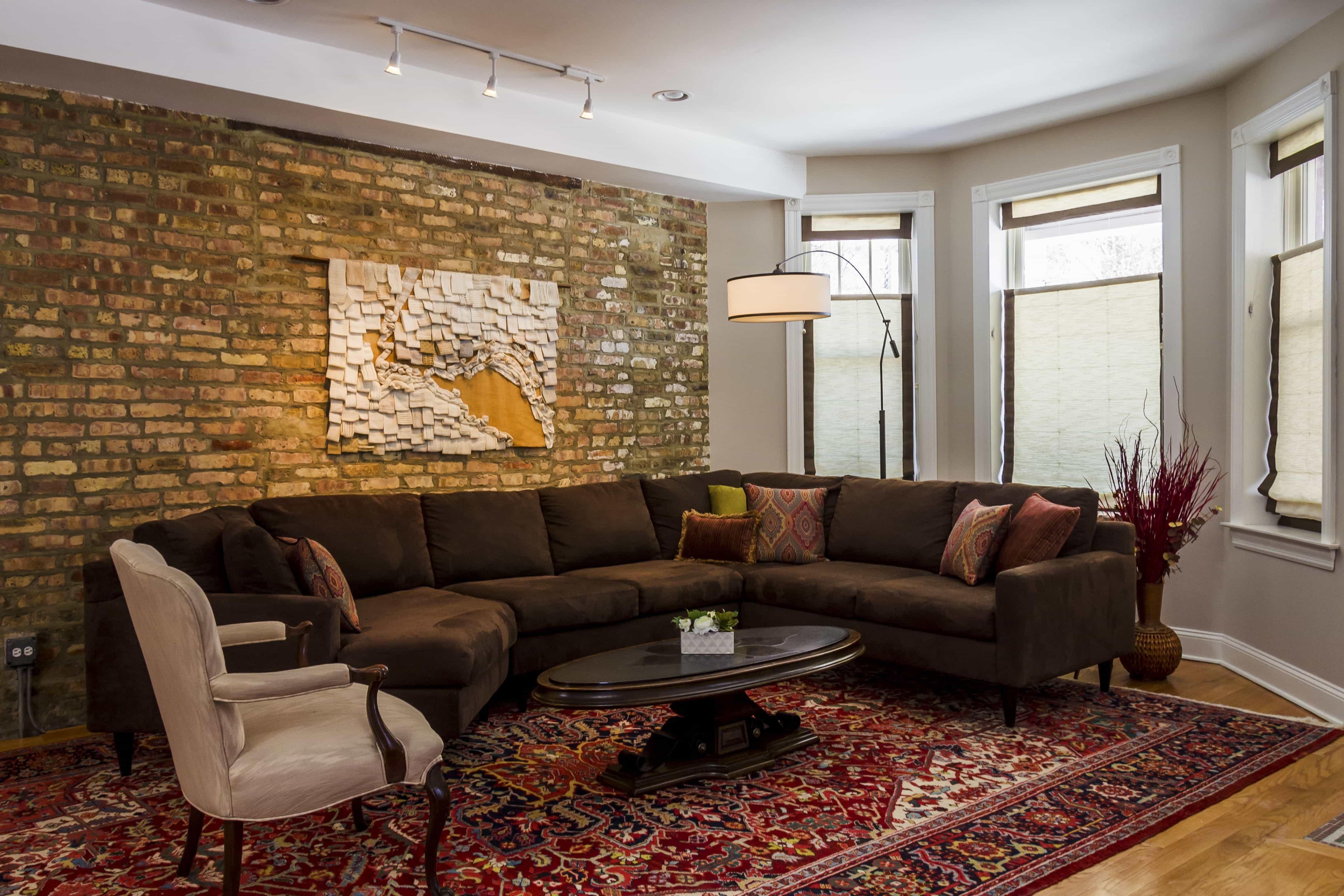 Contemporary Living Room With Brick Wall Feature (Image 6 of 30)