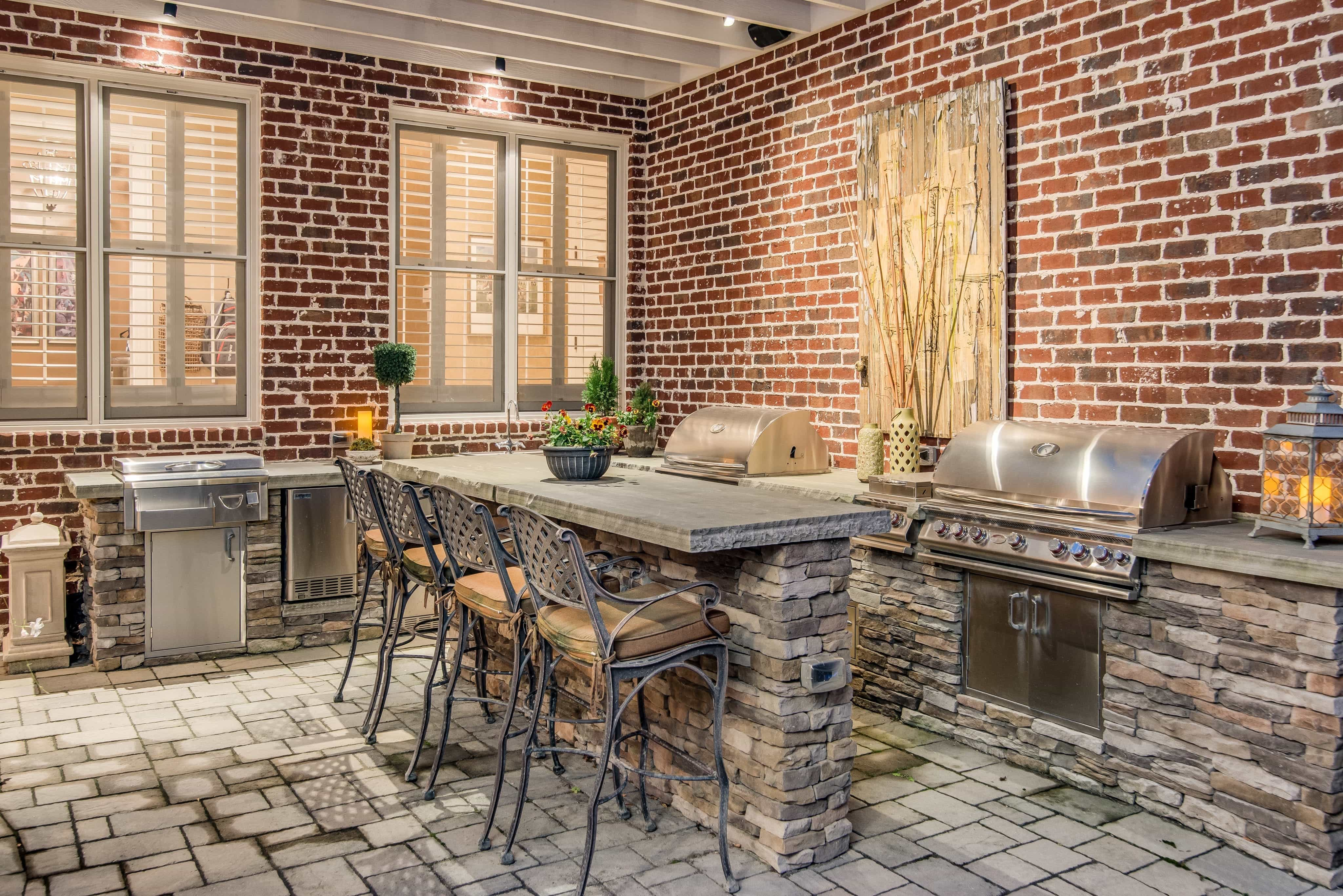 Contemporary Patio With Red Brick Walls (Image 7 of 30)