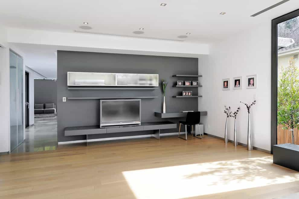 Featured Image of Contemporary Wall Mounted TV Stand In Grey Color
