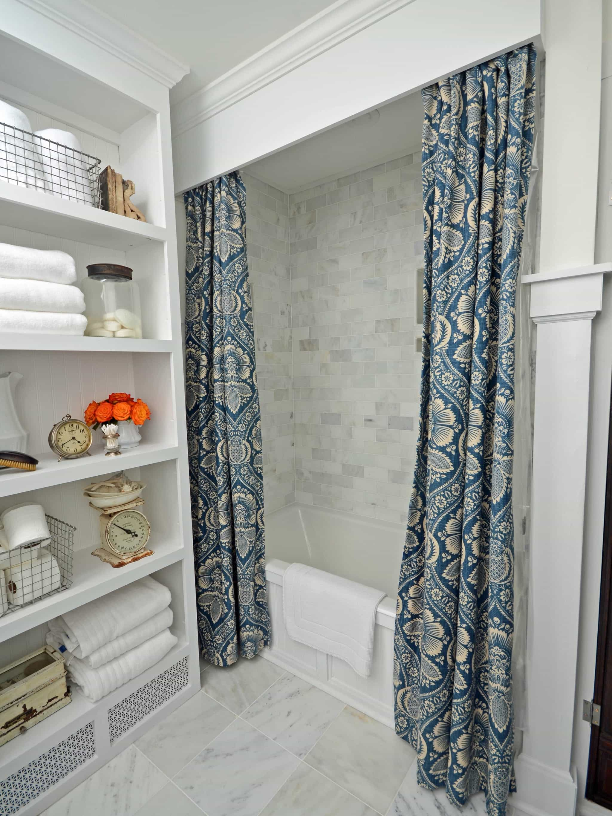 Cornice Board Shower Curtain In Traditional Bathroom (View 8 of 14)