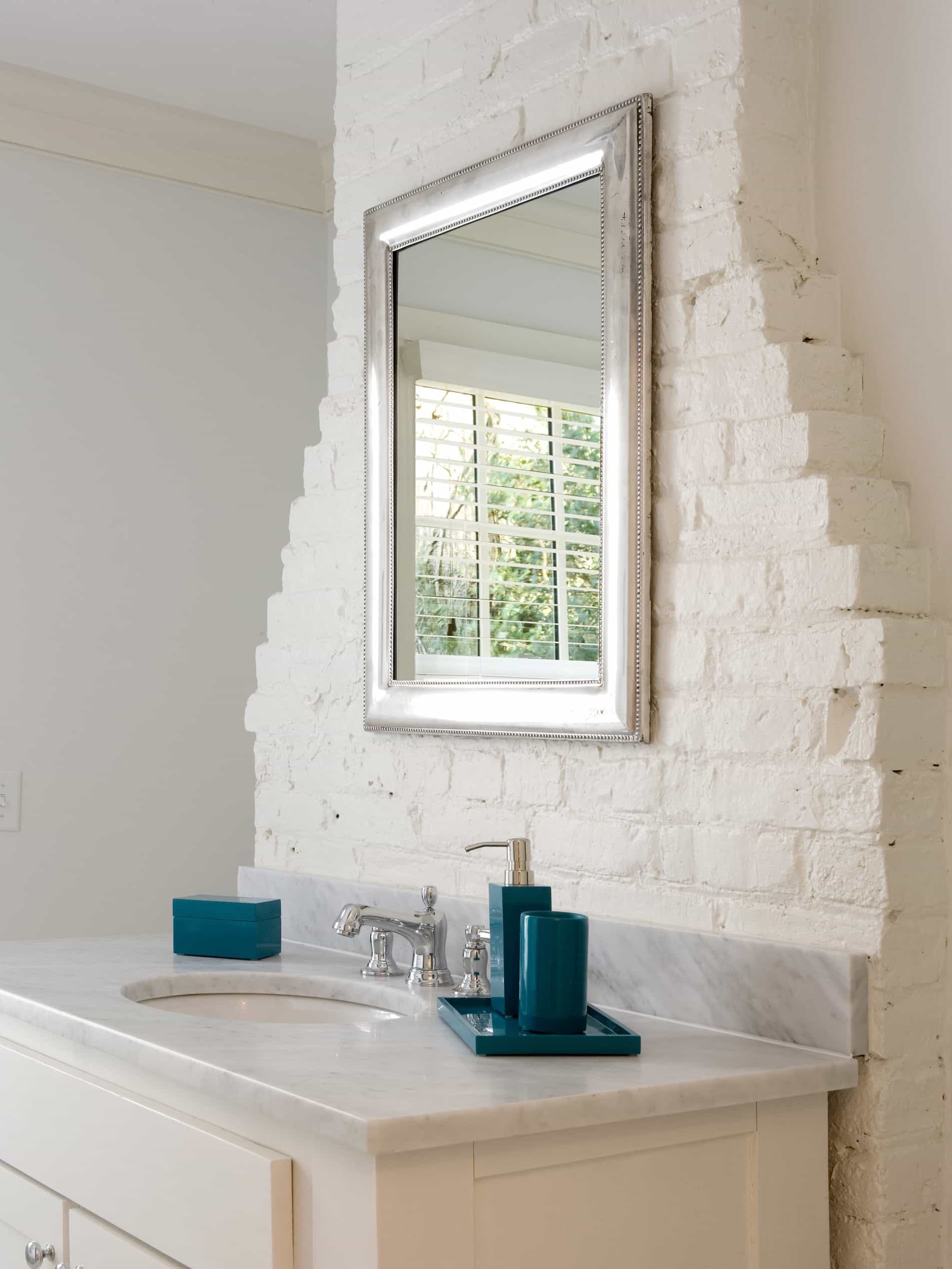 Featured Image of Cottage Bathroom Mirror With White Brick Wall With Vanity
