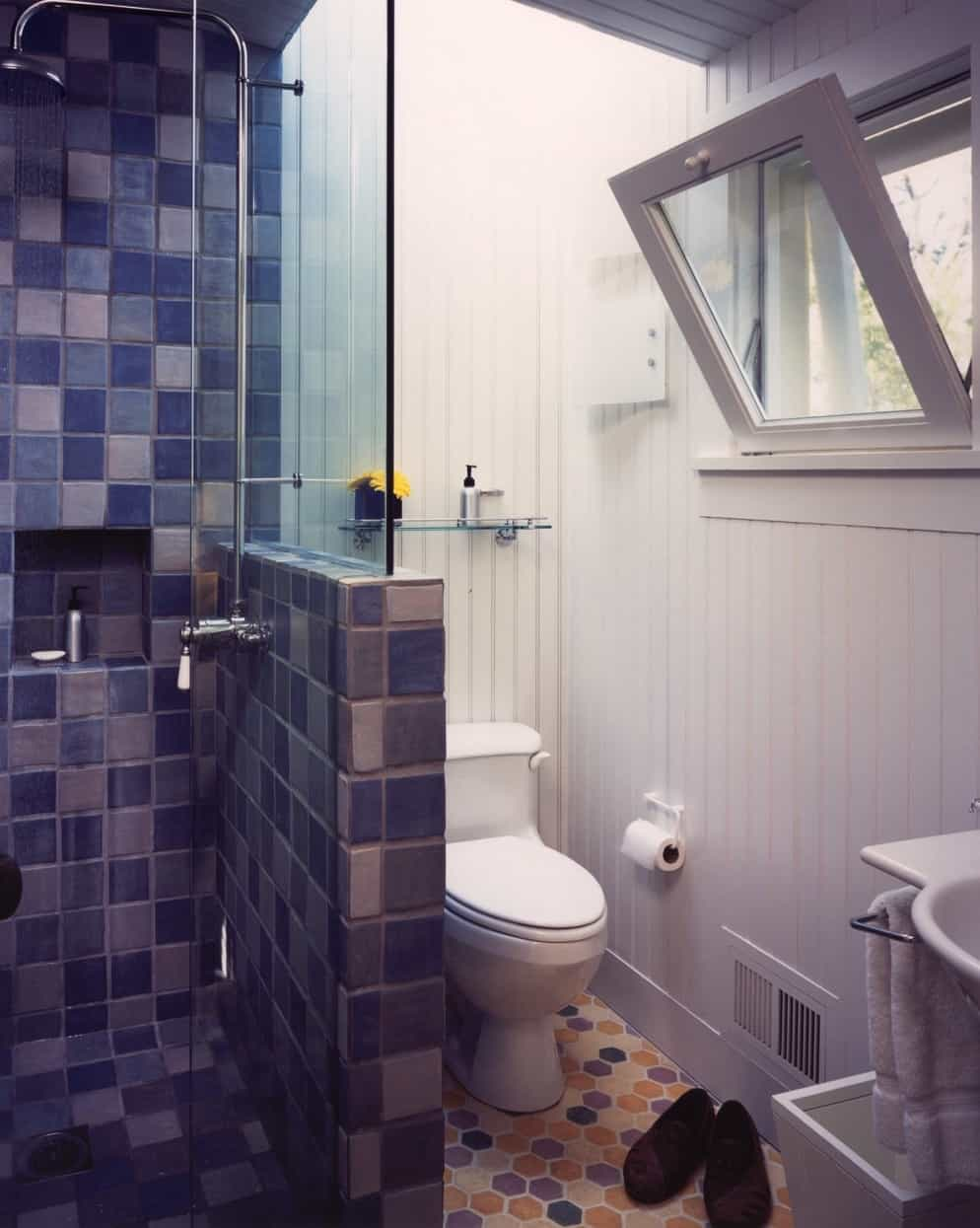 Featured Image of Cottage Bathroom With Hexagonal Floor Tile And Blue Shower