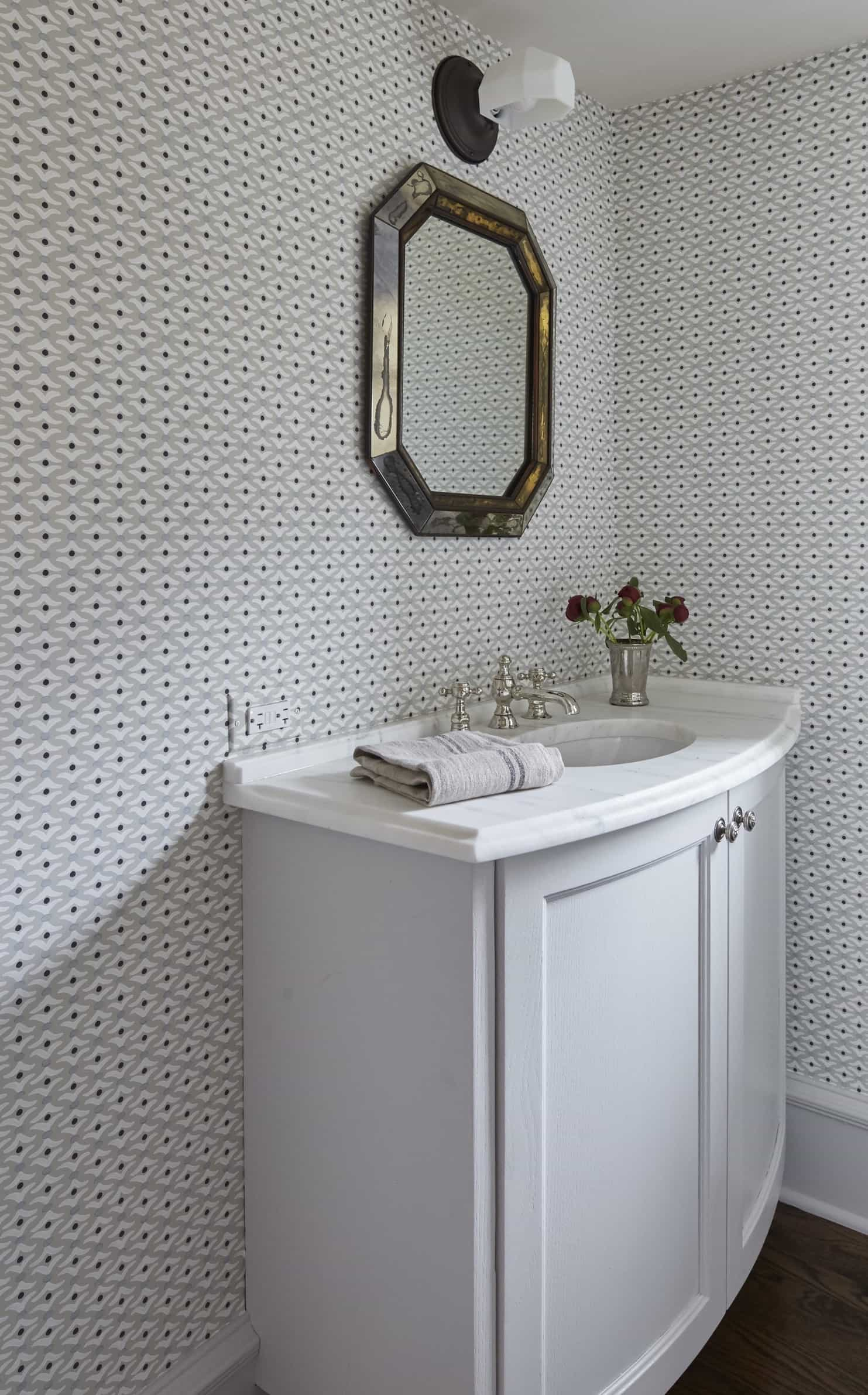 Featured Image of Cottage Powder Room With Wallpaper