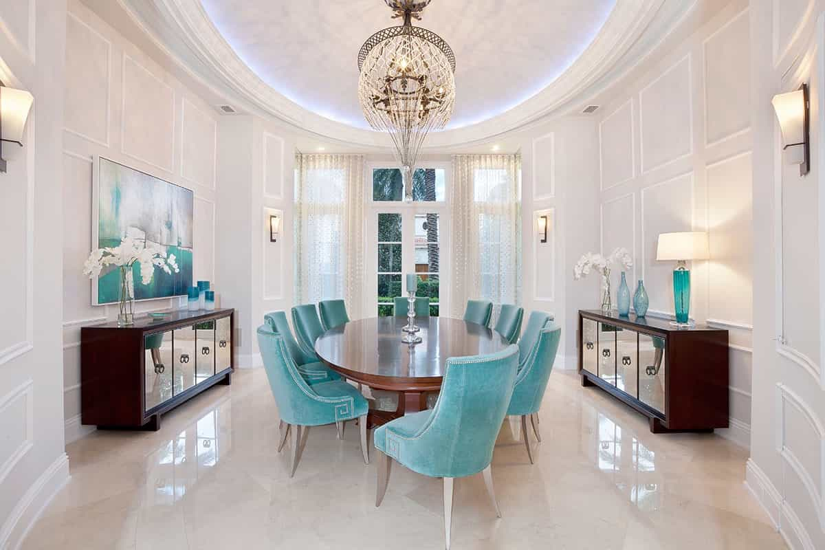 Featured Image of Cozy Dining Room With Classic Tiffany Blue Chairs With Crystal And Mirror Accents