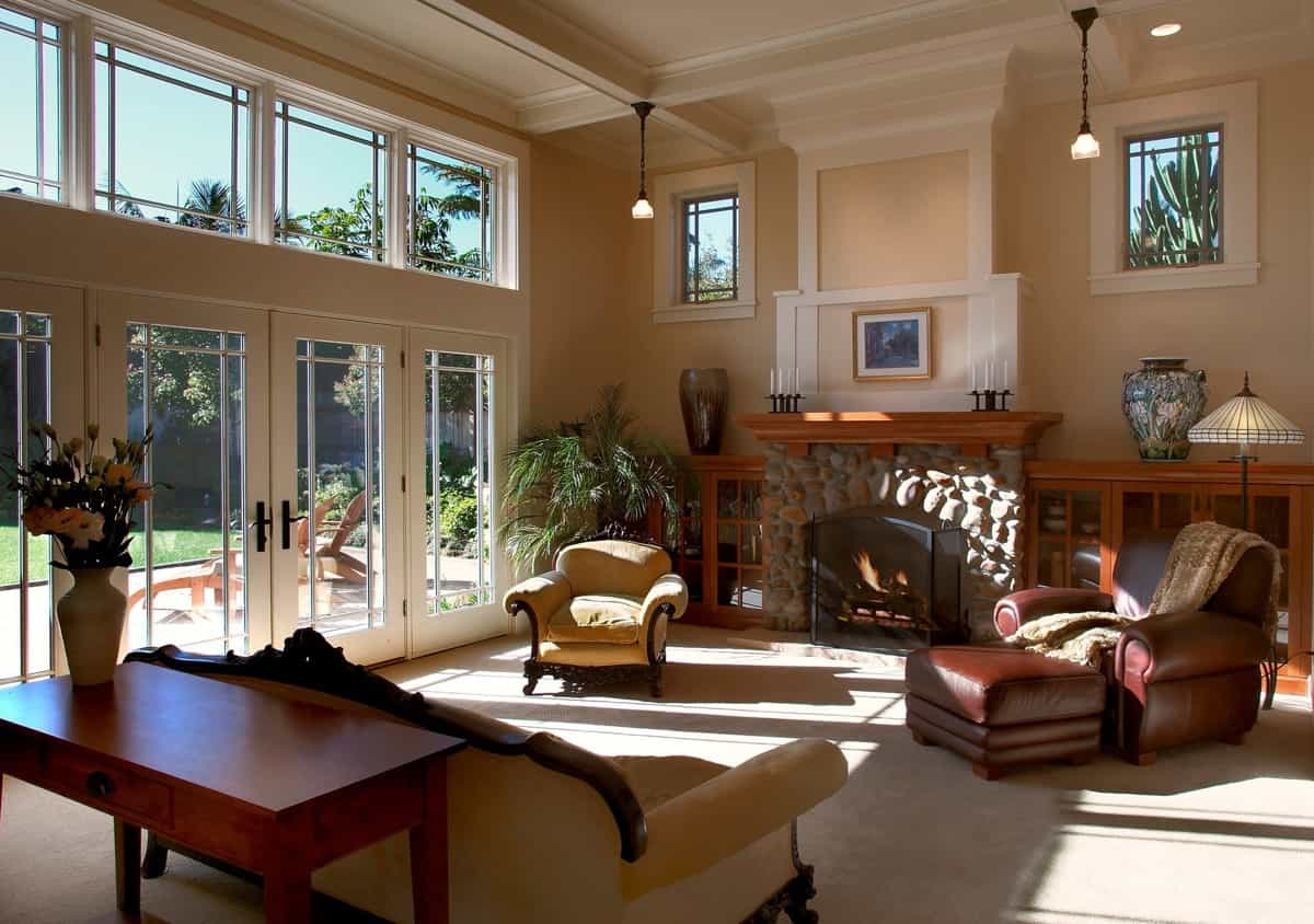 craftsman living room with rustic flair french doors and large