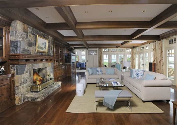 Featured Image of Craftsman Living Room With Wood Stone Fireplace