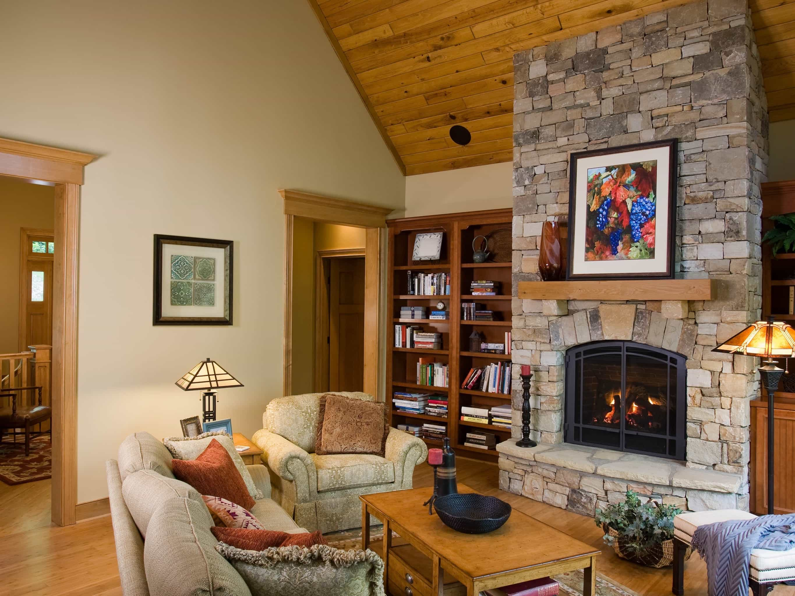Featured Image of Craftsman Style Family Room With Stone Fireplace