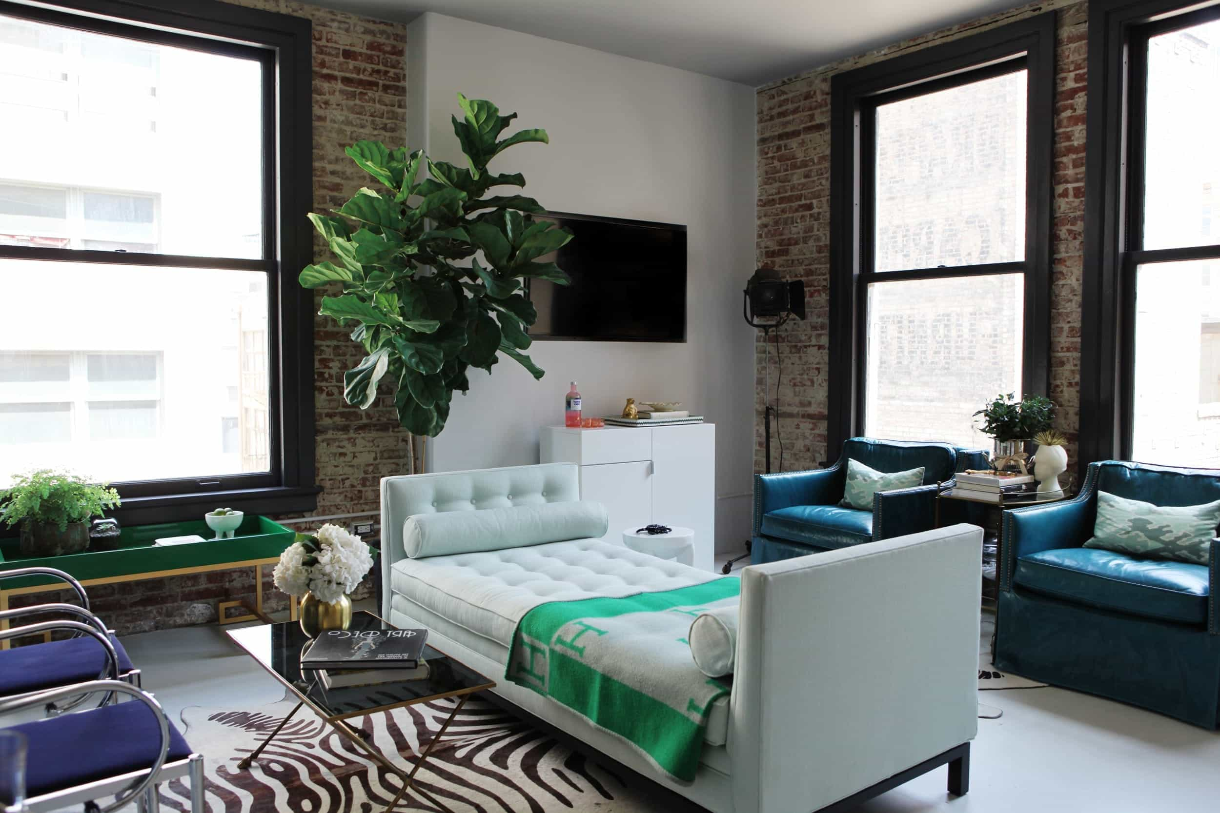 Eclectic Living Room With Exposed Brick Wall (Image 10 of 30)