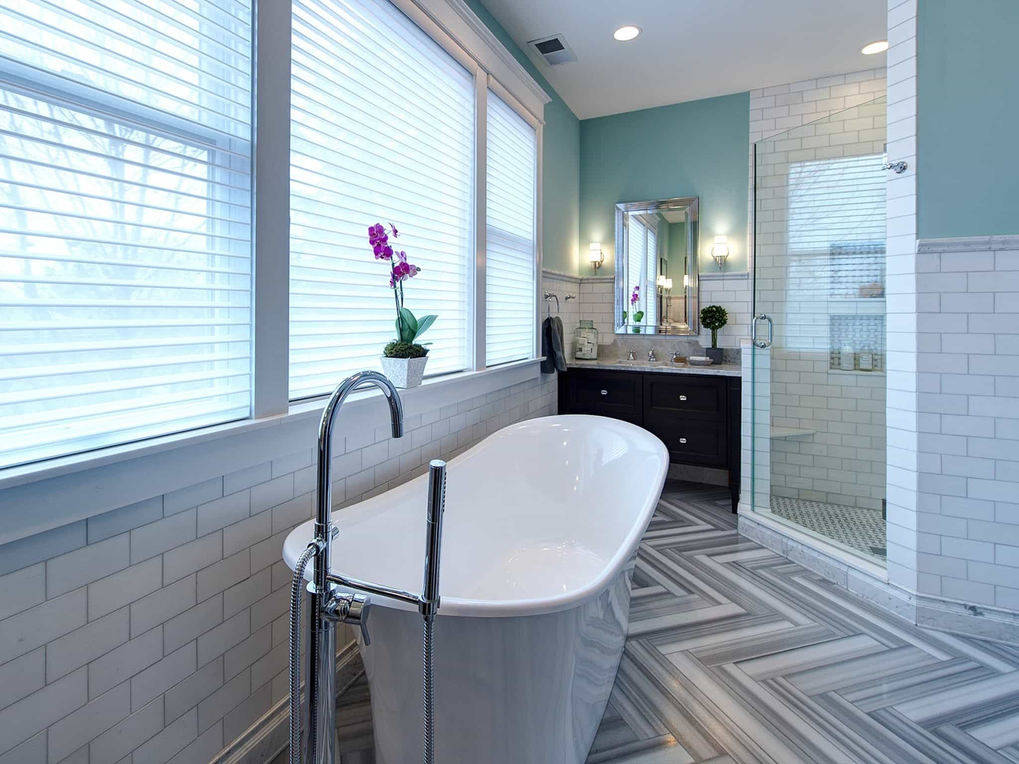 Eclectic, Luxurious Bathroom With White Subway Tile (Image 7 of 20)