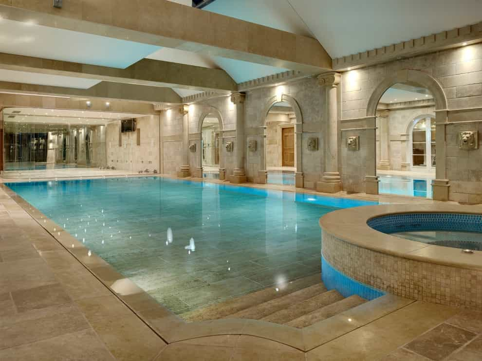Example Of A Classic Rectangular Indoor Pool Design In London (Image 4 of 14)