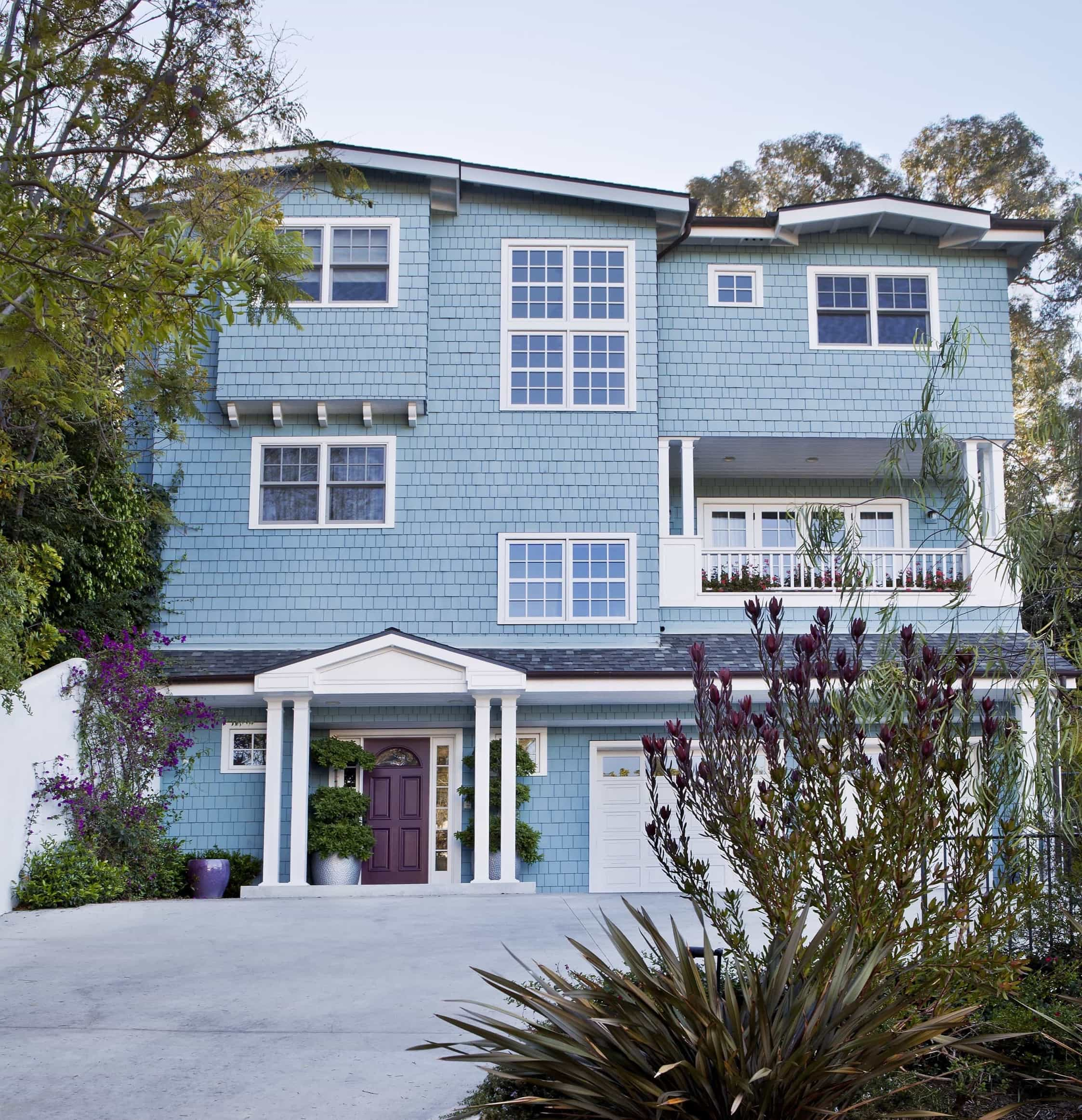 Featured Image of Exterior Of Brentwood Home With Baby Blue Wood Siding