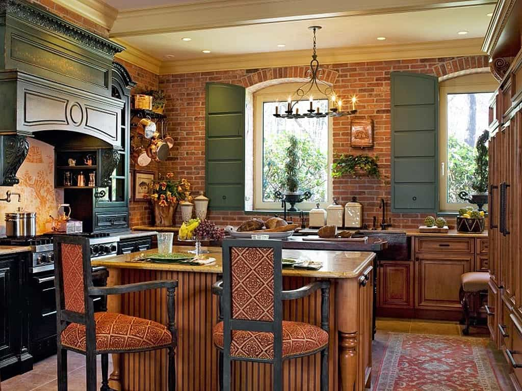 French Country Kitchen With Exposed Brick Wall (Image 12 of 30)