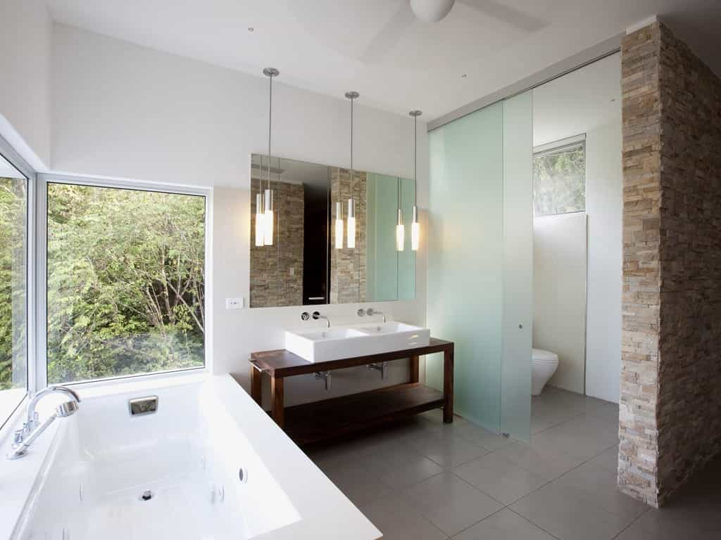 Frosted Glass Sliding Door For Contemporary Bathroom And Shower Devider (Image 8 of 27)