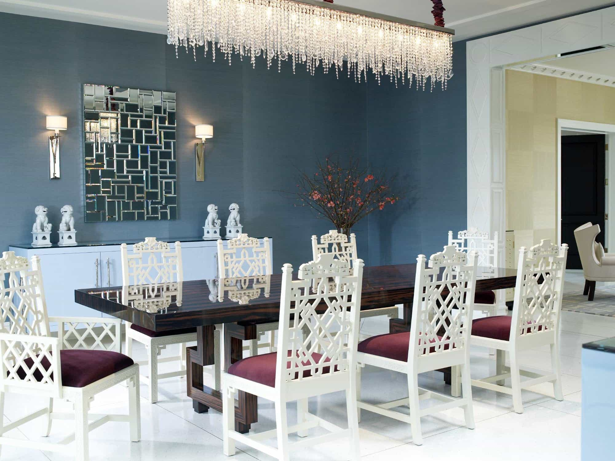 Featured Image of Glamorous Oriental Dining Room Featuring Crystal Chandelier