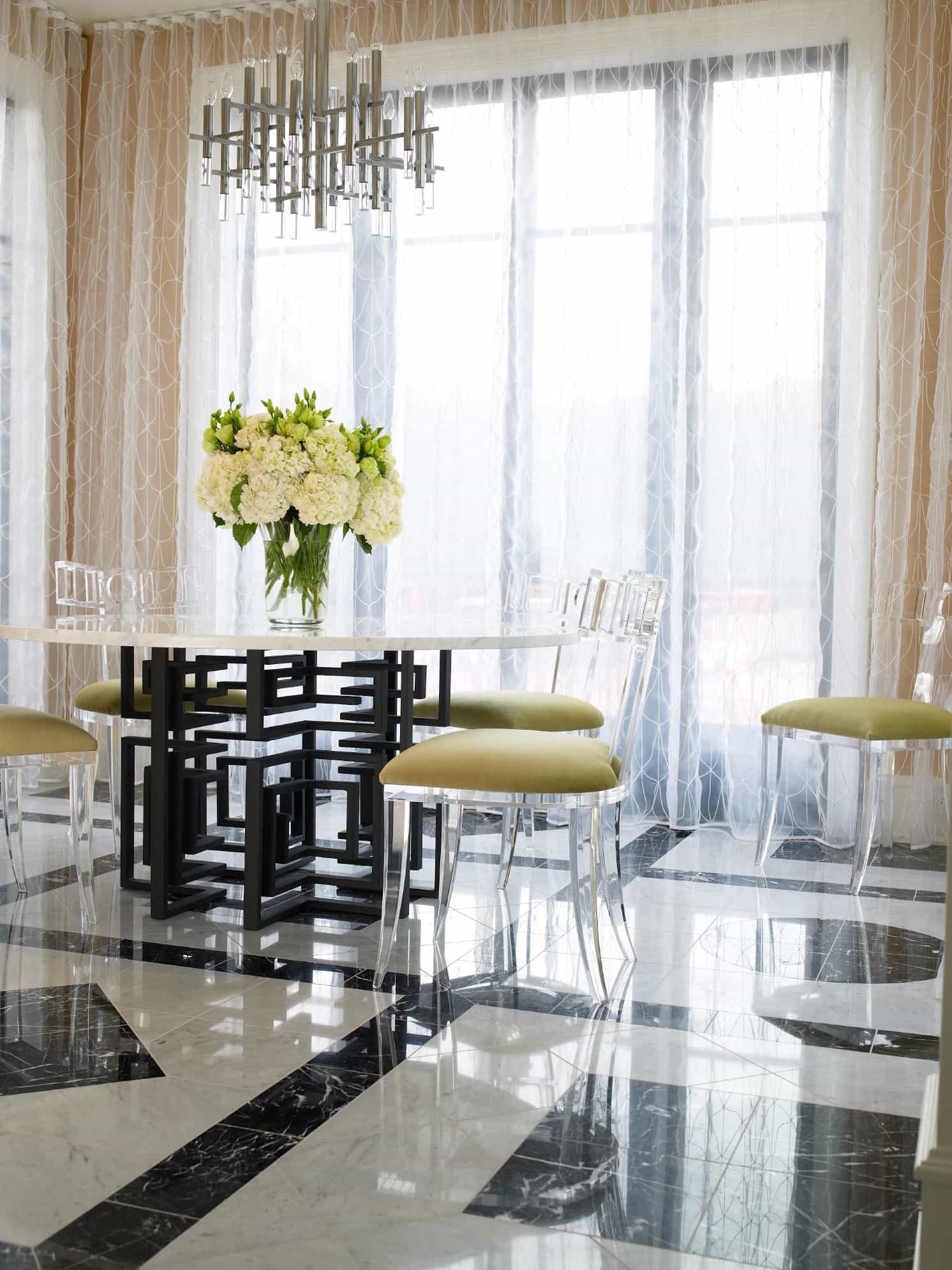 Featured Image of Graphic Wrought Iron Dining Table With Lucite Chairs