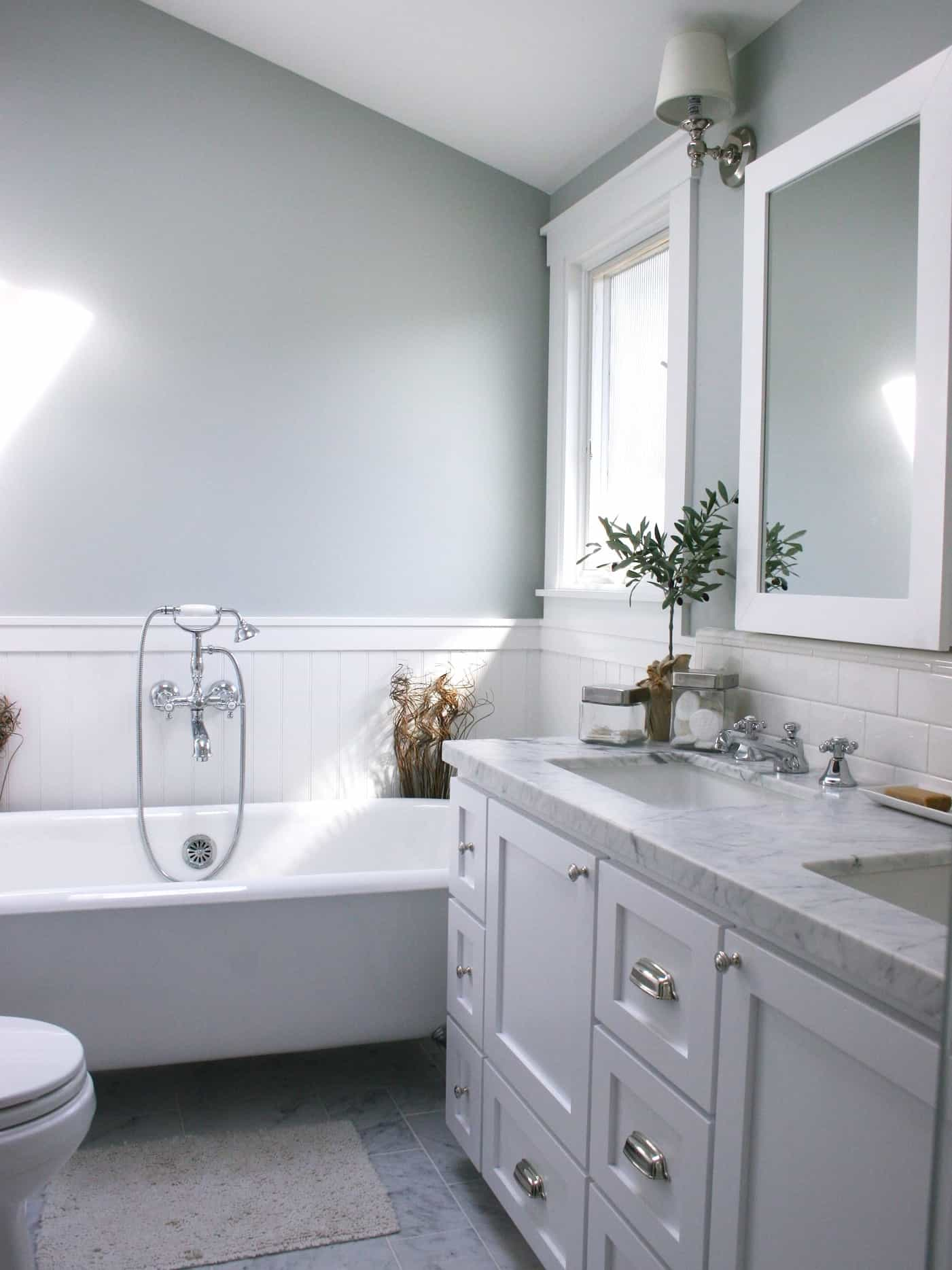 Featured Image of Gray Bathroom With White Wainscoting