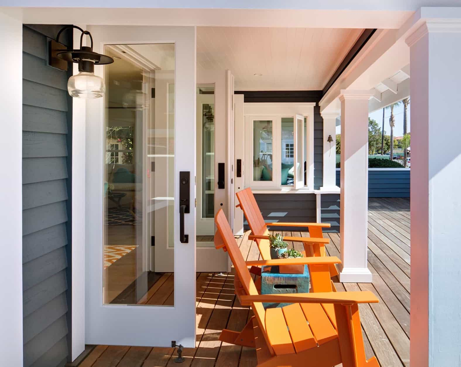 Featured Image of Gray And White Porch With Orange Rockers