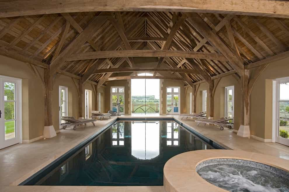 Inspiration For A Rustic Rectangular Indoor Pool House Remodel (Image 10 of 14)