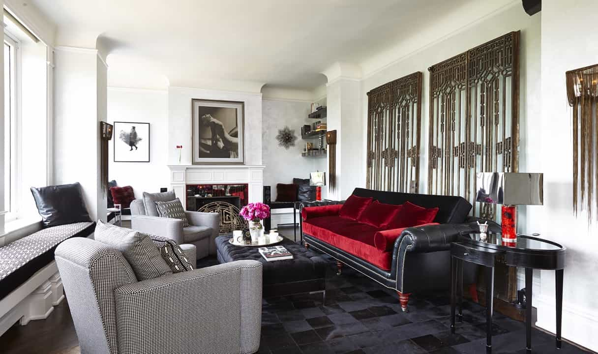 Featured Image of Leather And Velvet Sofa In Art Deco Living Room