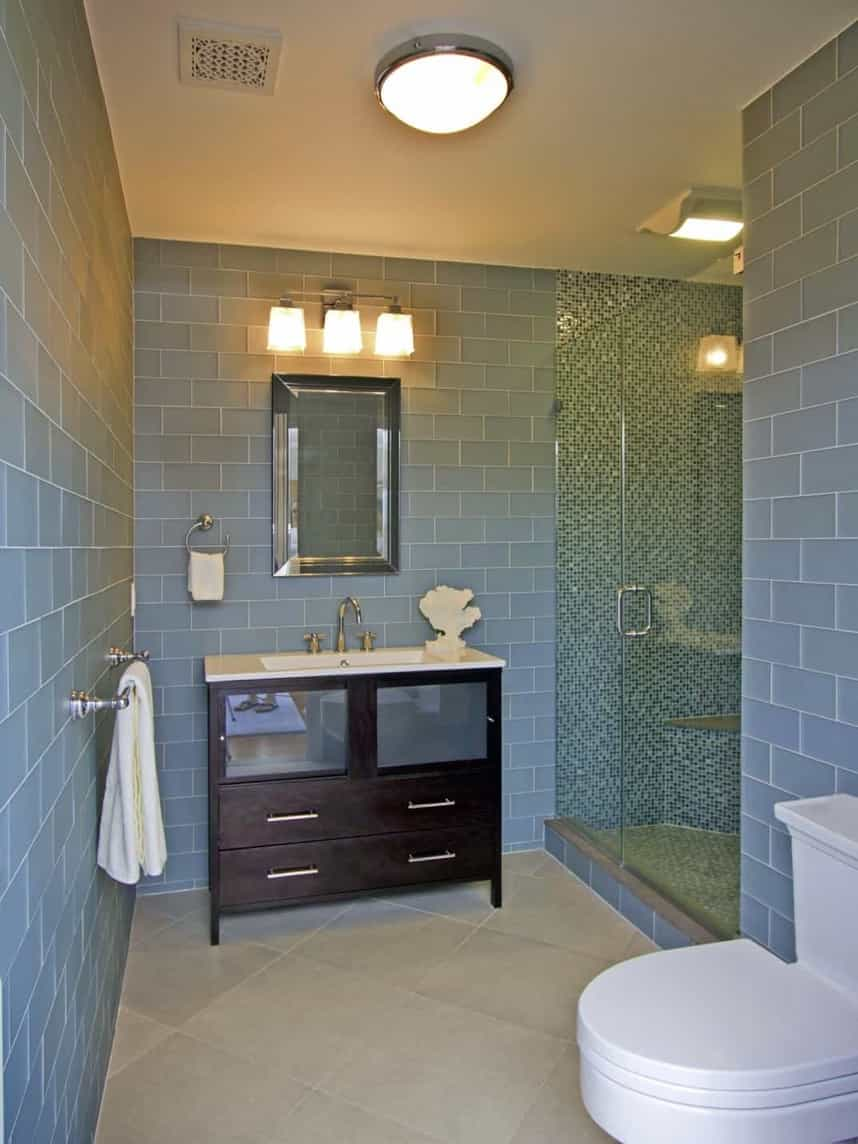 Featured Image of Light Blue Coastal Bathroom With Glass Shower
