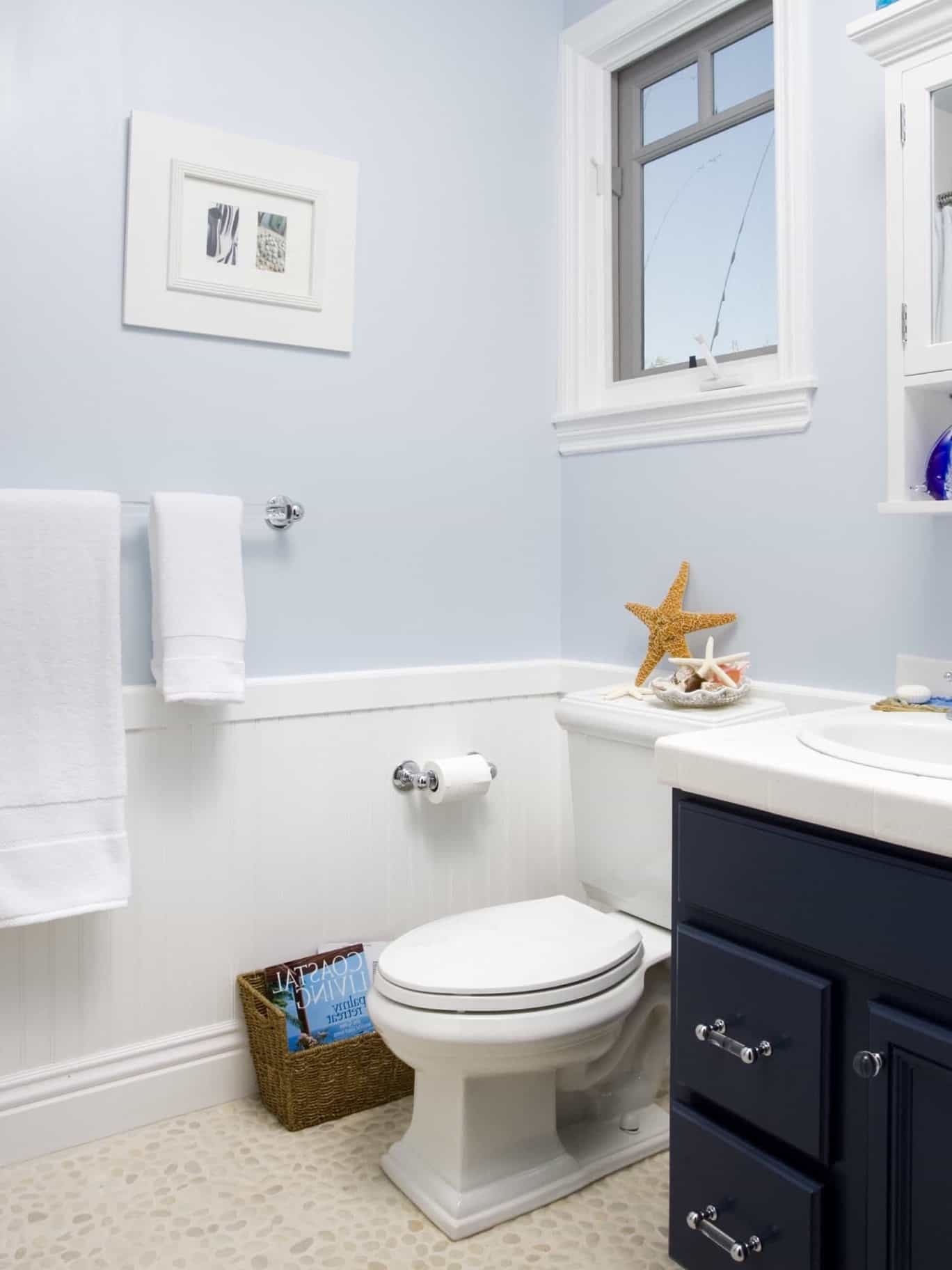 Featured Image of Light Blue Coastal Bathroom With Navy Vanity