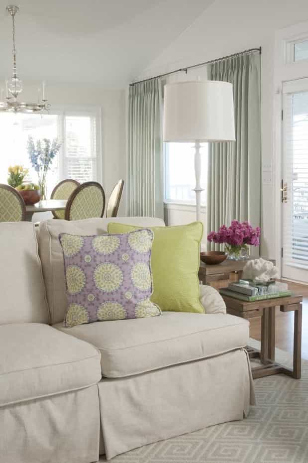 Featured Image of Living Room Showcases Soft Colors And Stylish Patterns