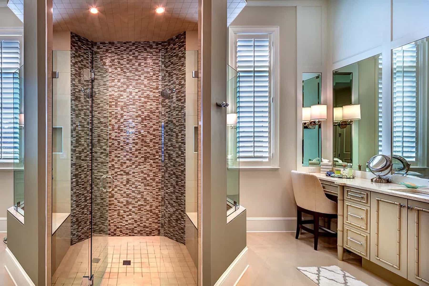 Featured Image of Master Bathroom With Beauty Vanity And Glass Enclosed Shower Stall