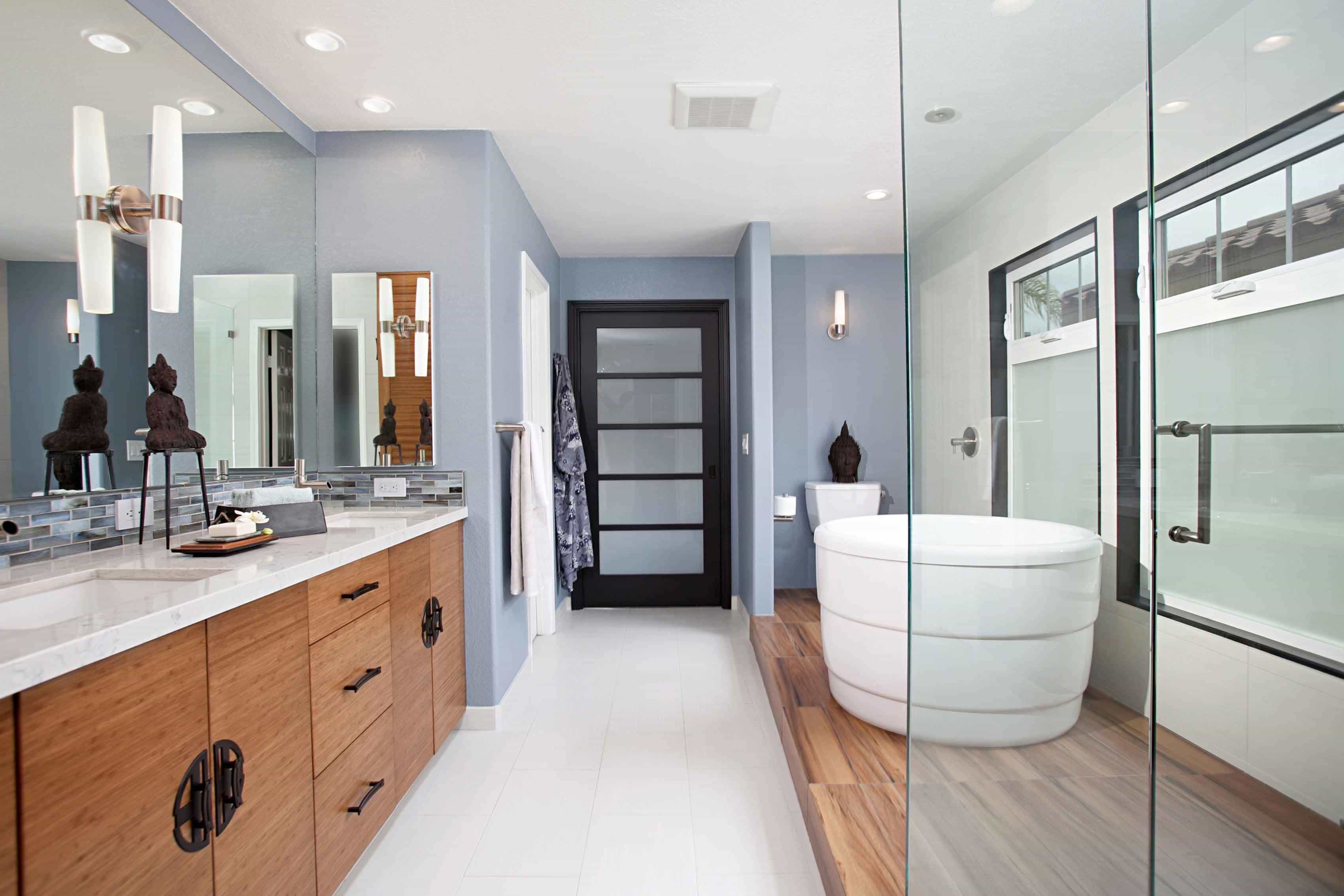 Modern Bathroom Remodel To Long Asian Bathroom With Pastel Blue Walls And Frosted Glass Finishes And White Floating Bathtub (Image 10 of 19)