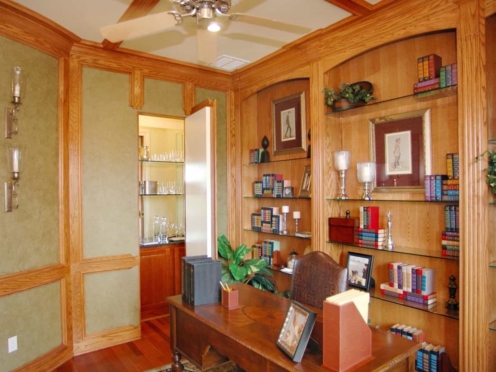 Modern craftsman home office with hidden wet bar 50595 for Office wet bar