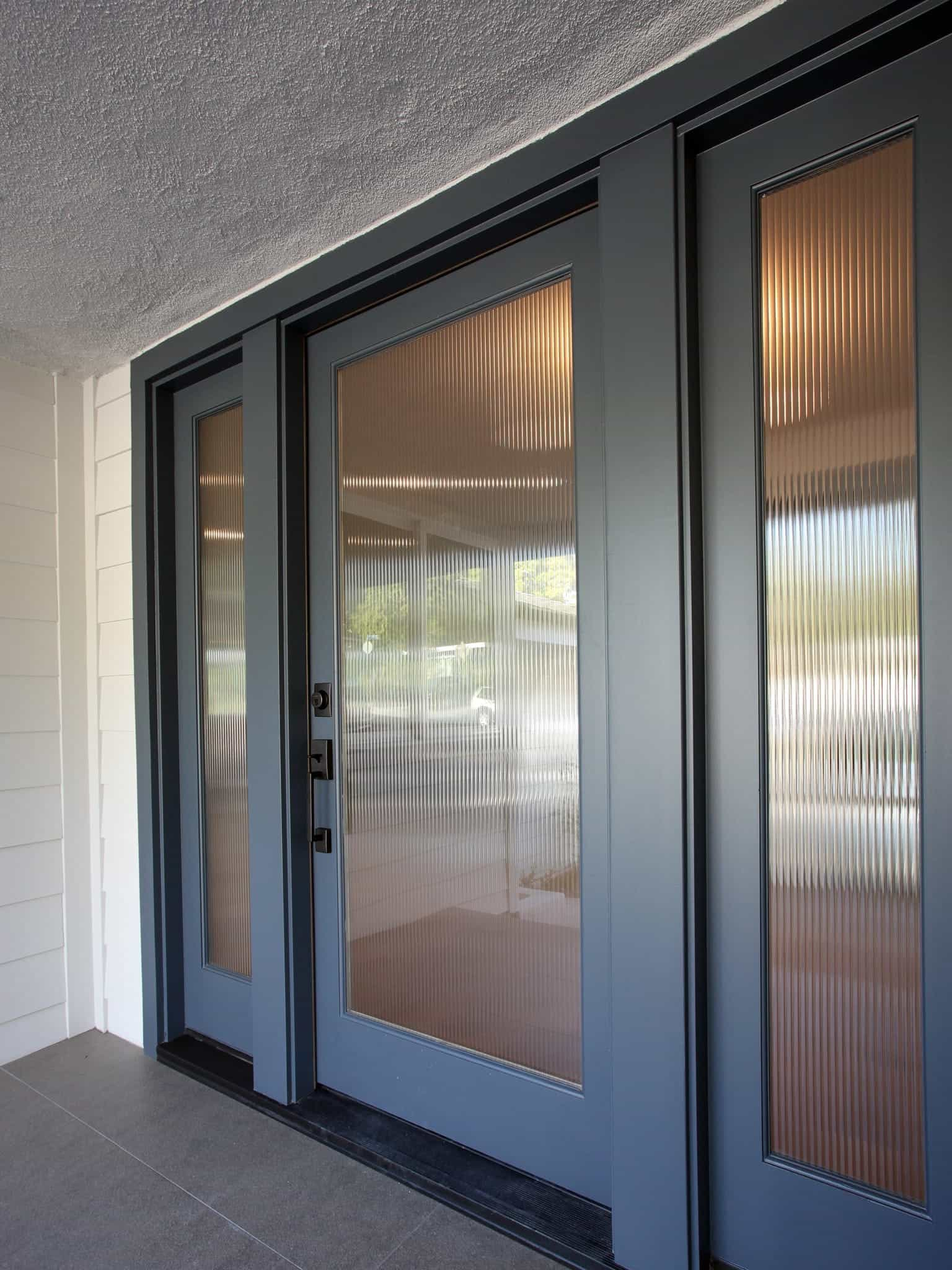 Featured Image of Modern Custom Slate Entryway Sliding Door With Frosted Glass