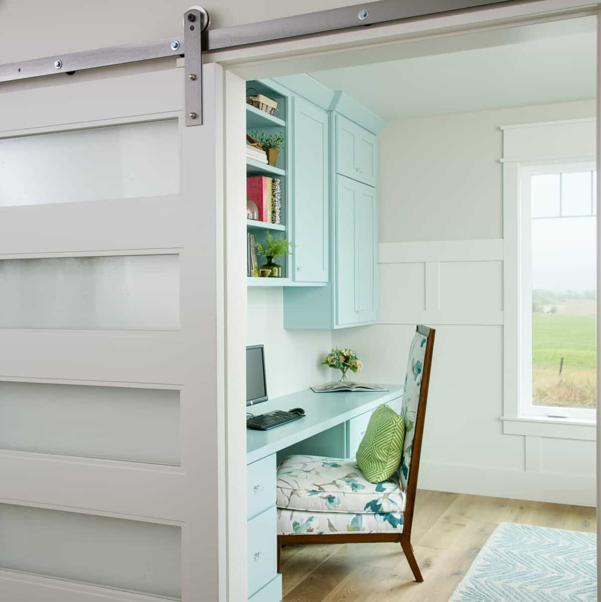 Modern Home Office With Sliding Glass Door With Blinds (Image 17 of 27)