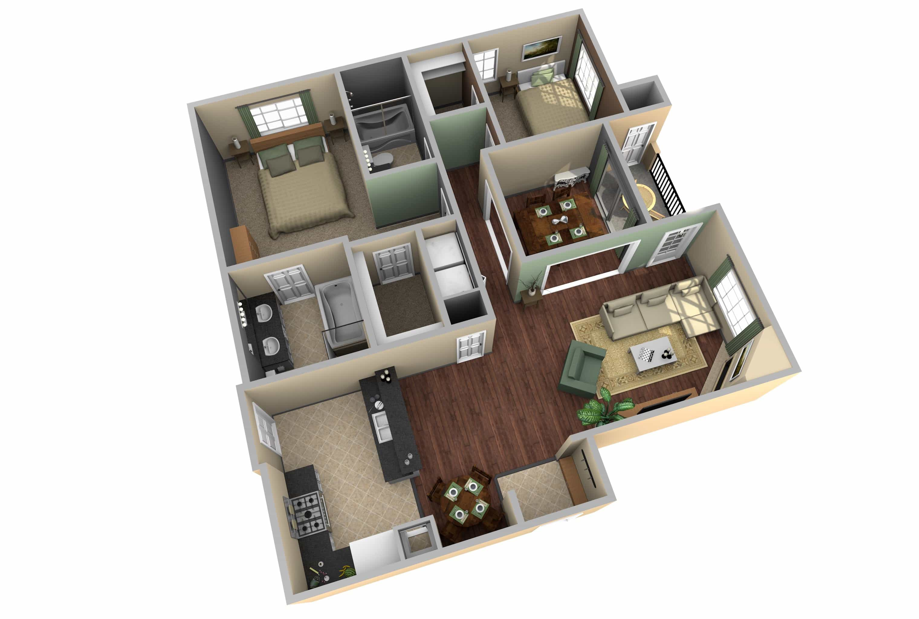 Modern House Floor Plans 3D Layout With 2 Bedroom (Image 12 of 17)
