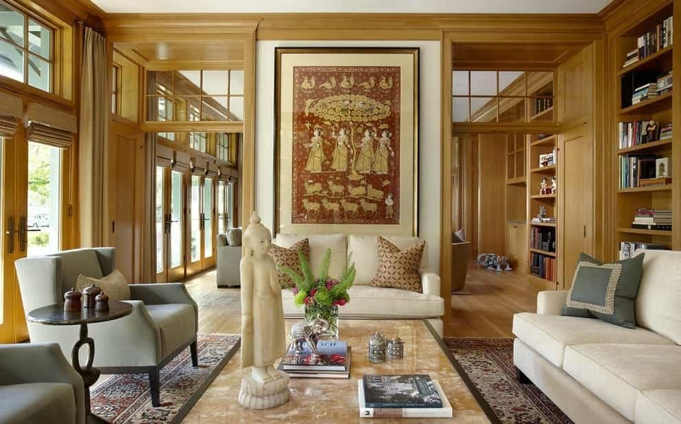 Featured Image of Modern Indian Living Room With Wooden Interior