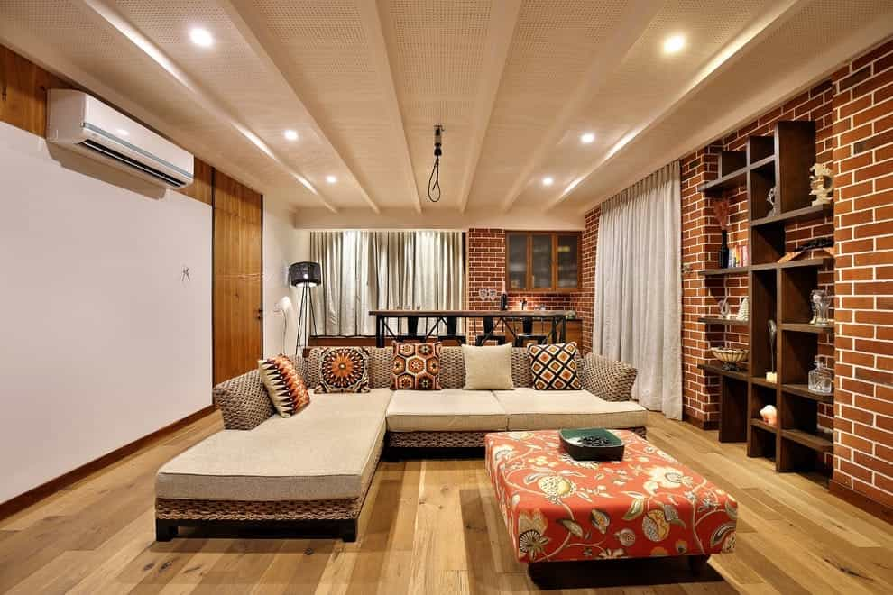 Featured Image of Modern Indian Living Room With Decorative Brick Wall