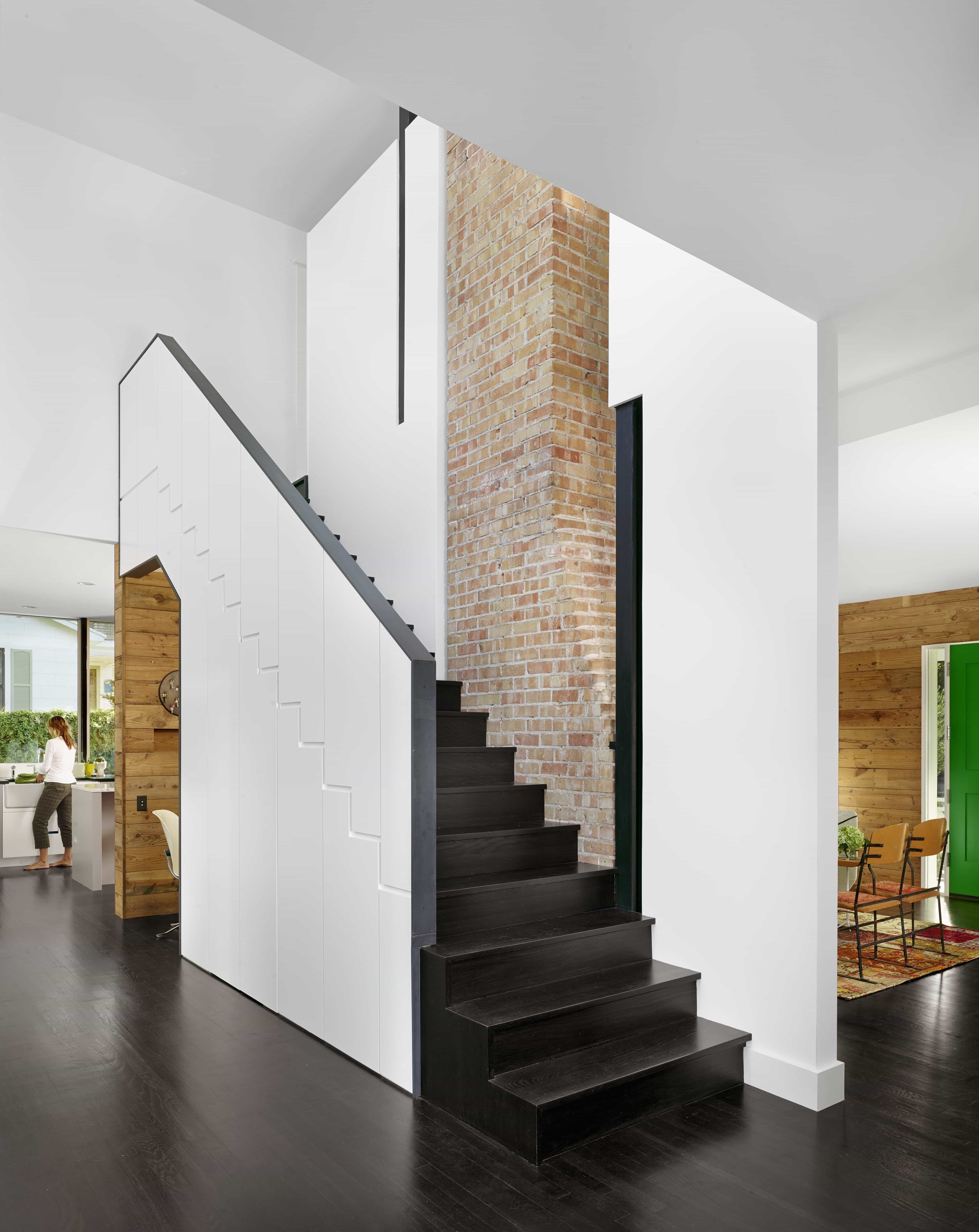 Modern Staircase With Exposed Brick Chimney (Image 19 of 30)