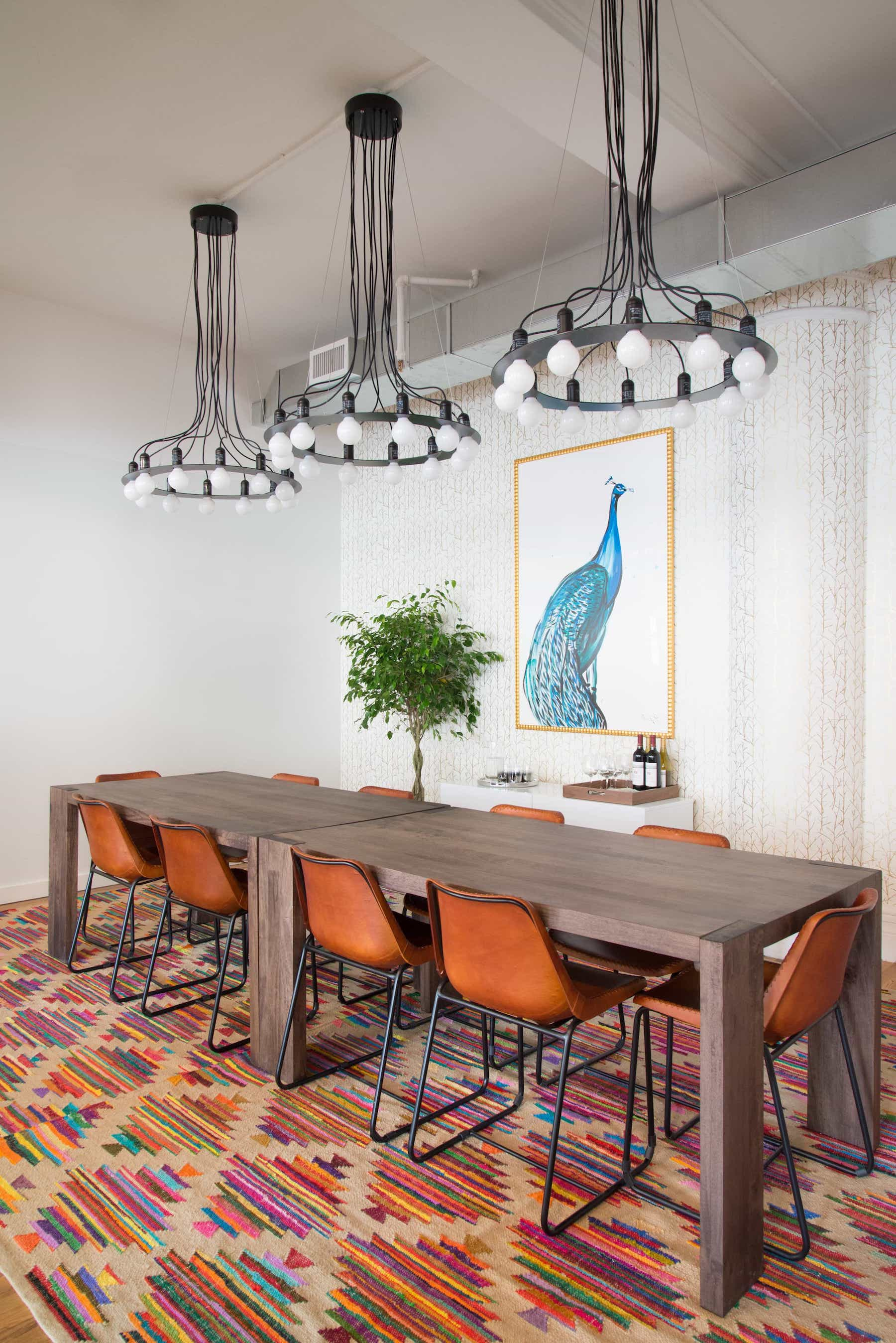 Featured Image Of Multicolored Rug In Contemporary Conference Room With Industrial Style Chandeliers