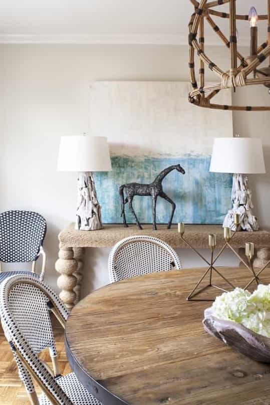 Featured Image of Natural Textures In Coastal Dining Room With Driftwood Lamps