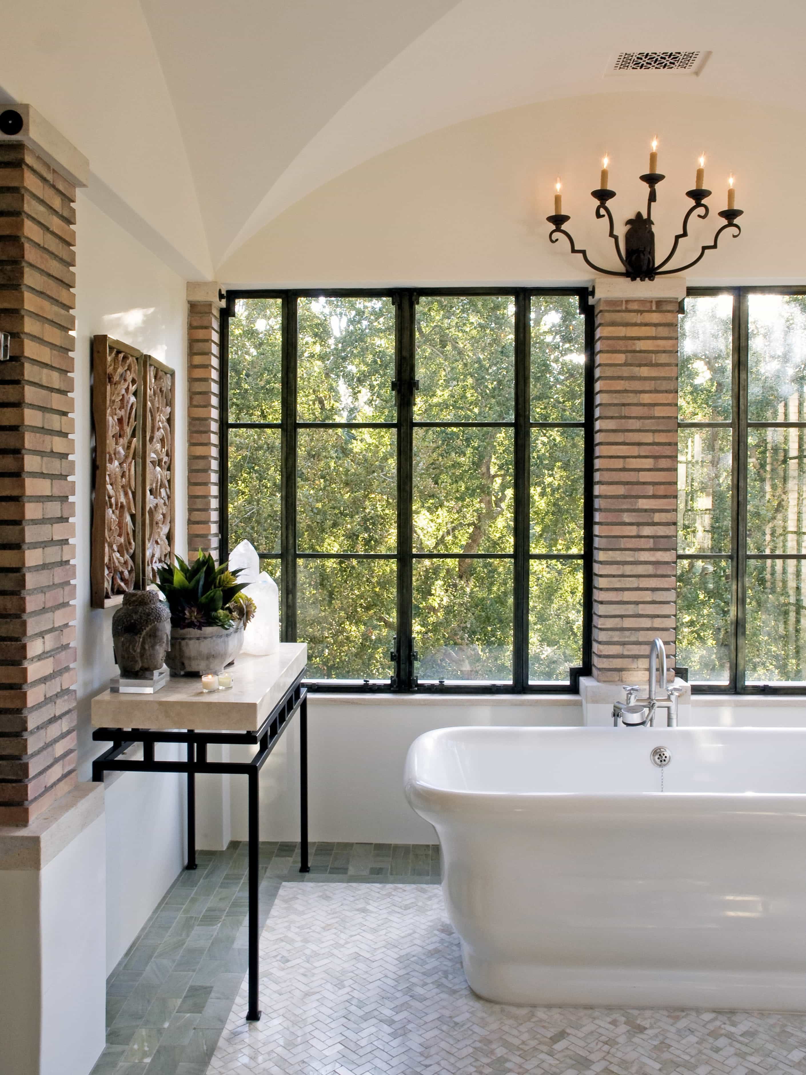 Neutral Bathroom With White Slipper Tub And Brick Wall Columns (Image 20 of 30)
