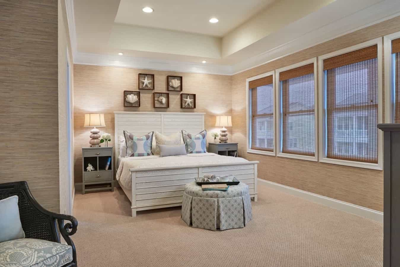 Featured Image of Neutral Bedroom With Bamboo Window Blinds And Paneled Wood Bed Frame