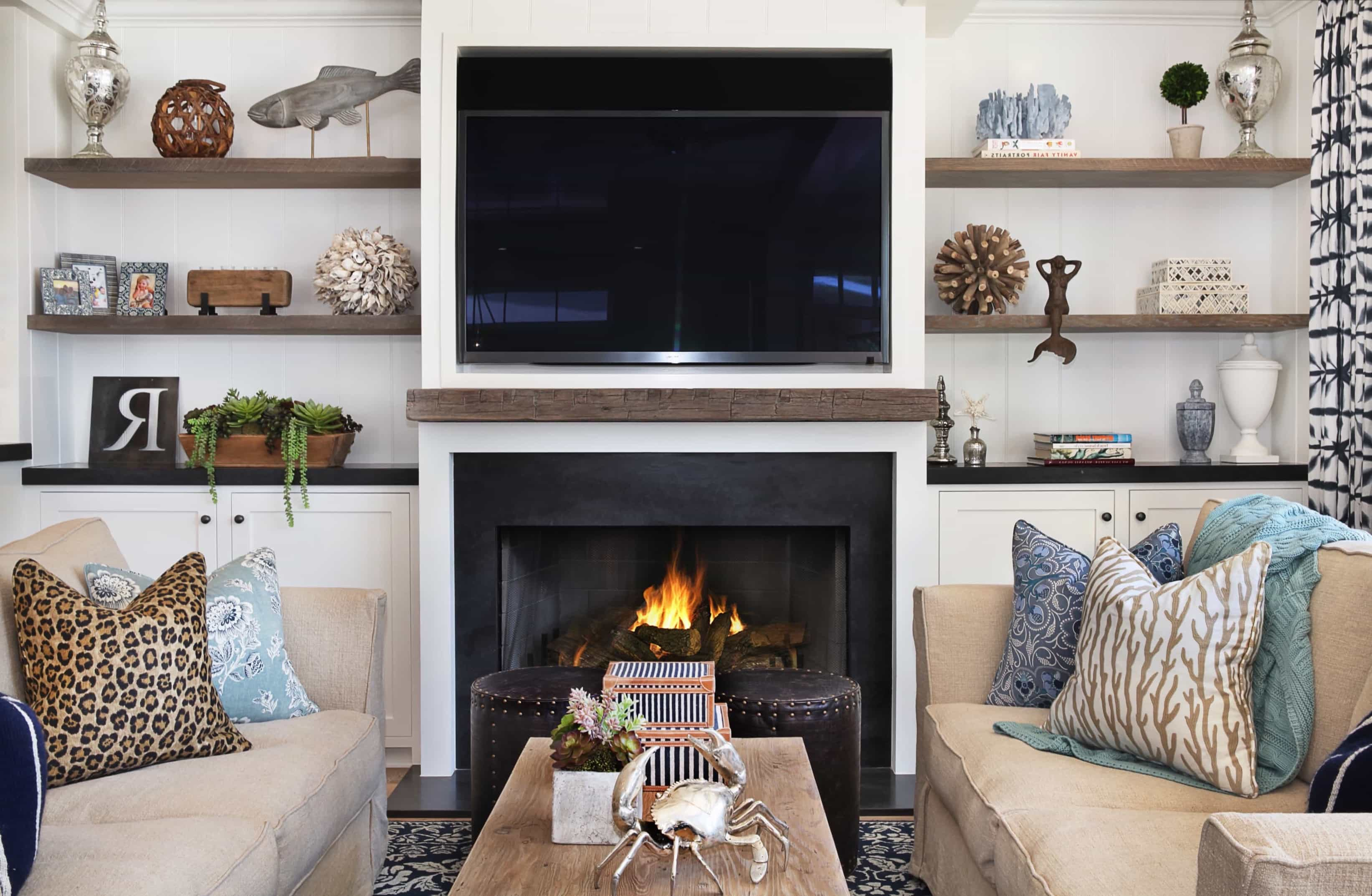 neutral coastal living room with fireplace #50368 | house