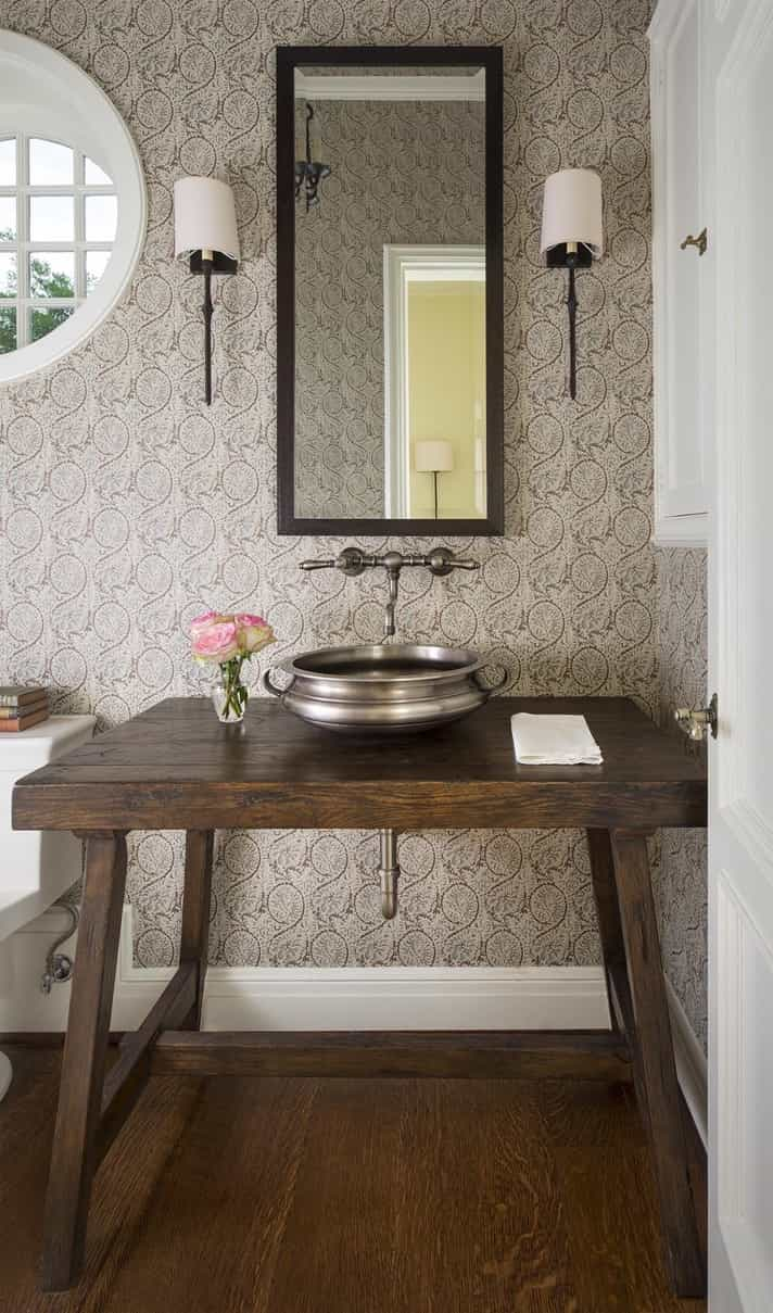 neutral cottage powder room  pewter sink  house decoration ideas