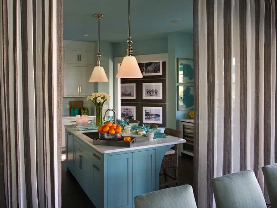 Featured Image of Open Plan Kitchen With Linen Curtain Room Divider