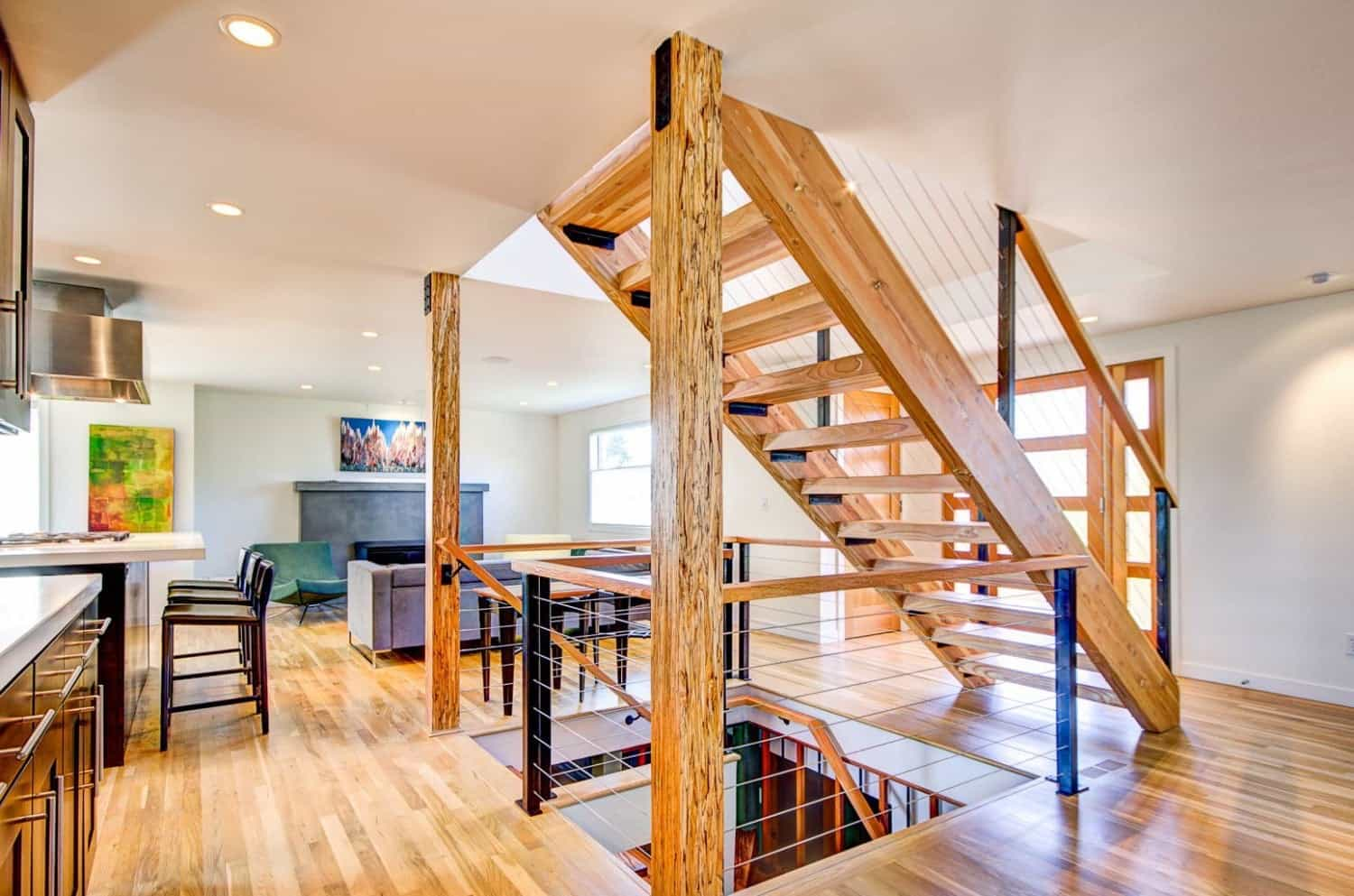 Featured Image of Open Plan Living Space With Floating Wood Staircase