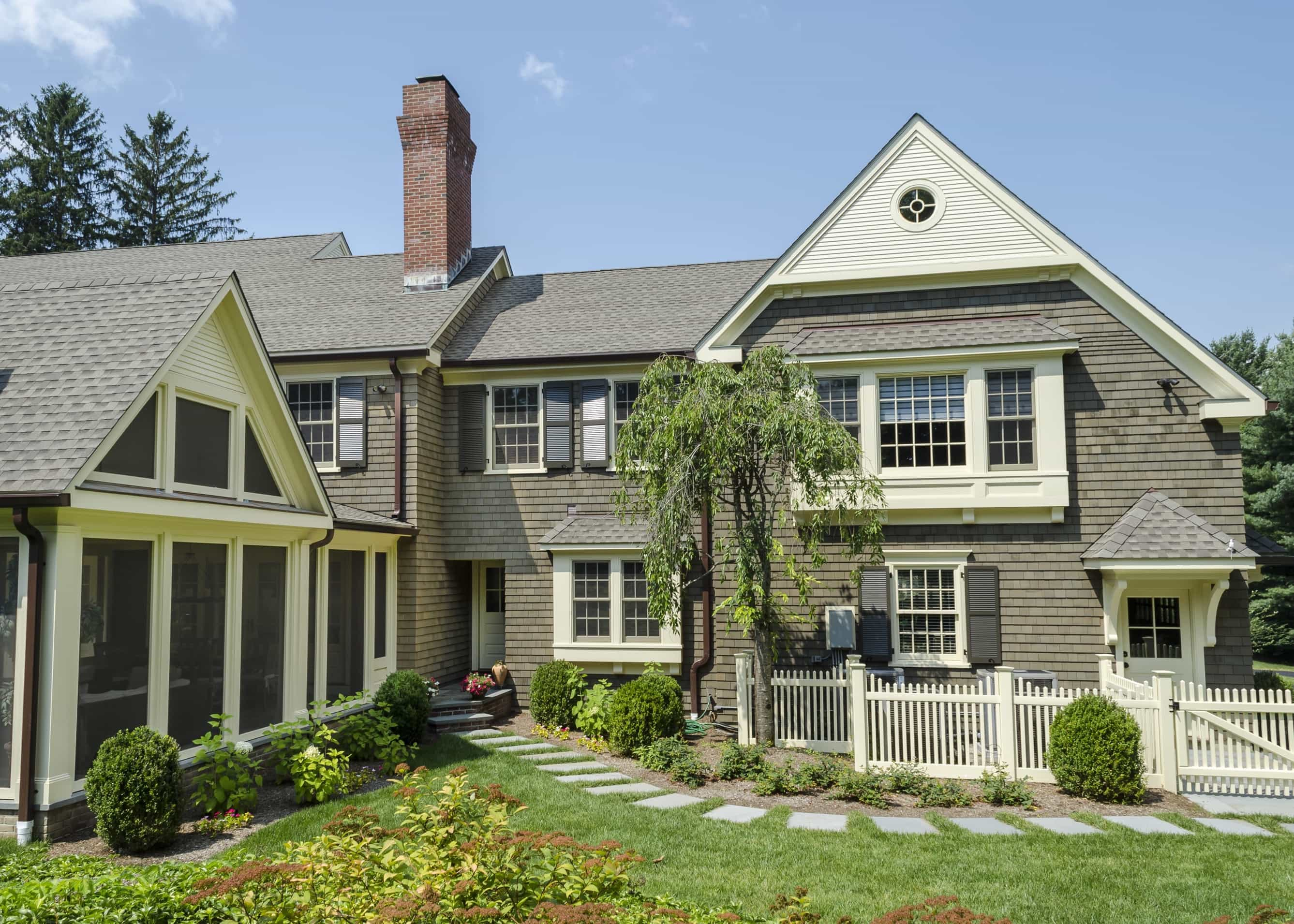 Featured Image of Rear Facade Of Classic Colonial Home With Screened Porch