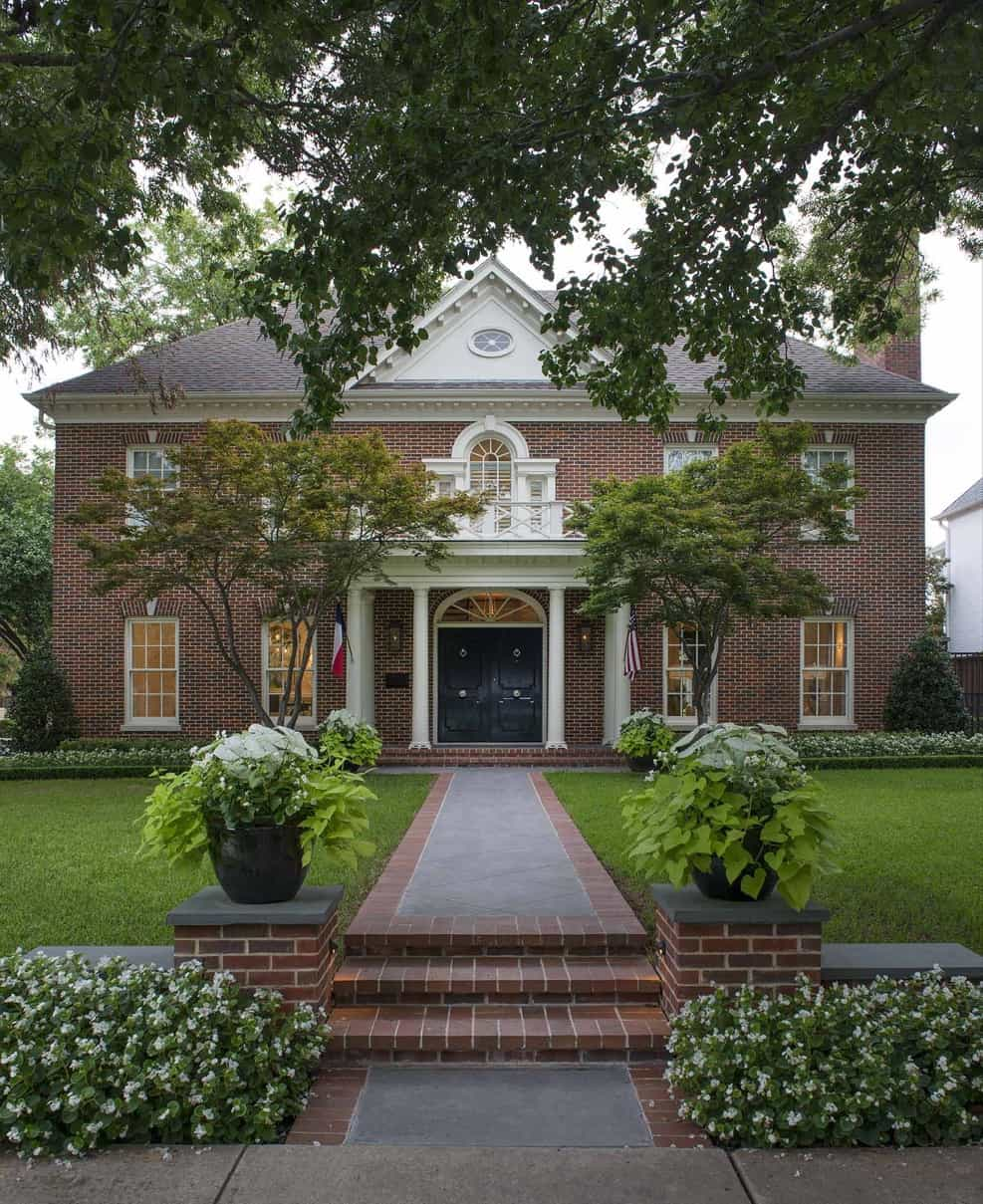 Featured Image of Red Brick Colonial Exterior And Front Yard