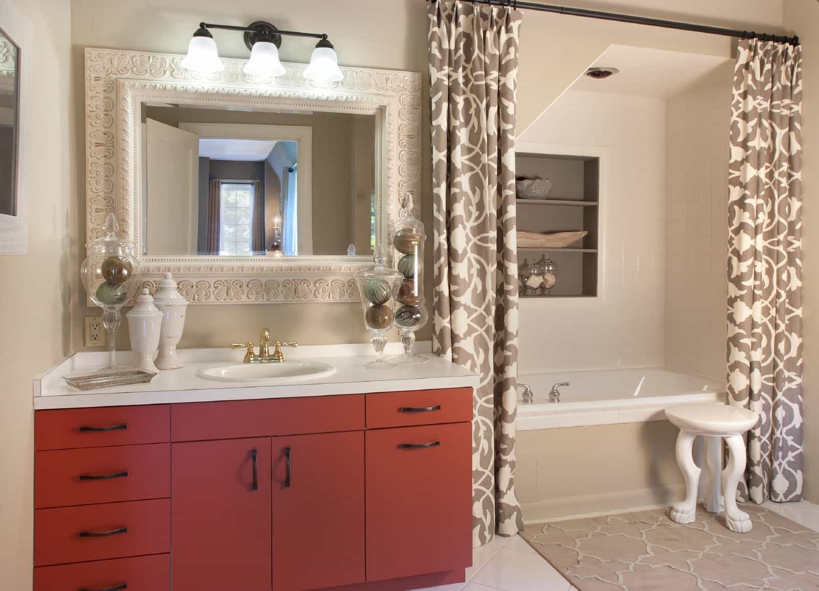 Red Vanity And Double Shower Curtains In Feminine Bathroom (View 7 of 14)